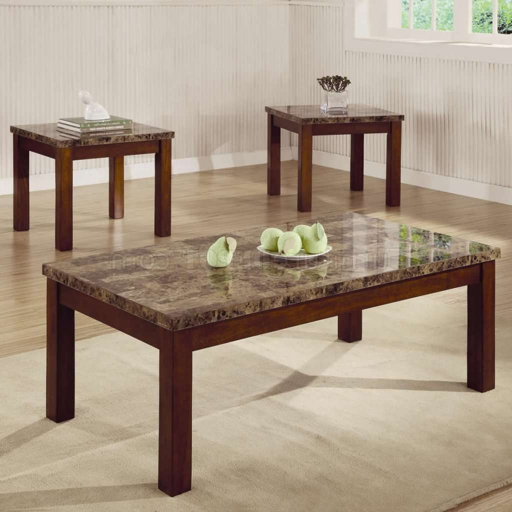 Marble Like Top & Dark Oak Finish Modern 3Pc Coffee Table Set Pertaining To Popular Dark Oak Coffee Tables (View 13 of 20)