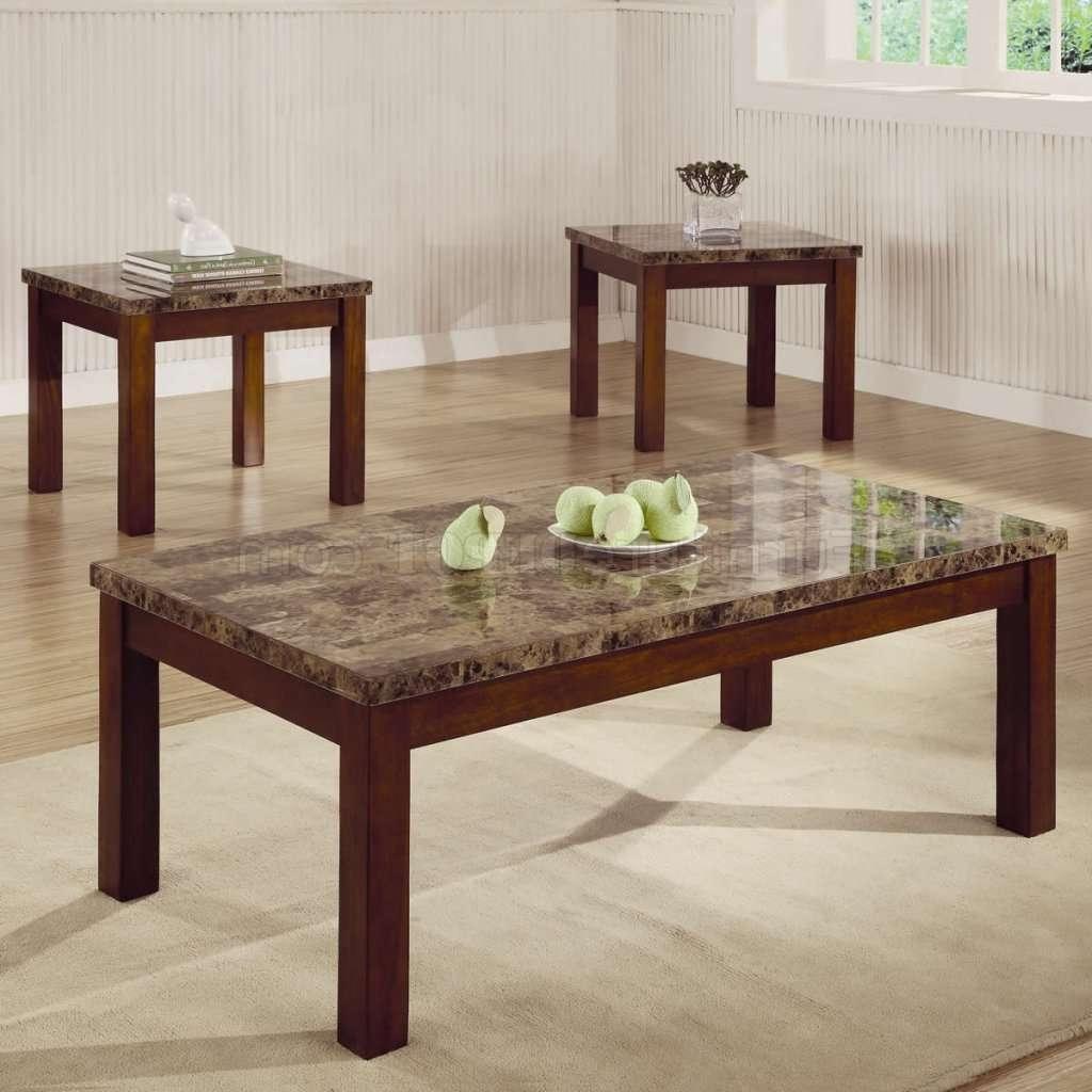 Marble Like Top & Dark Oak Finish Modern 3Pc Coffee Table Set Pertaining To Popular Dark Oak Coffee Tables (View 13 of 20)