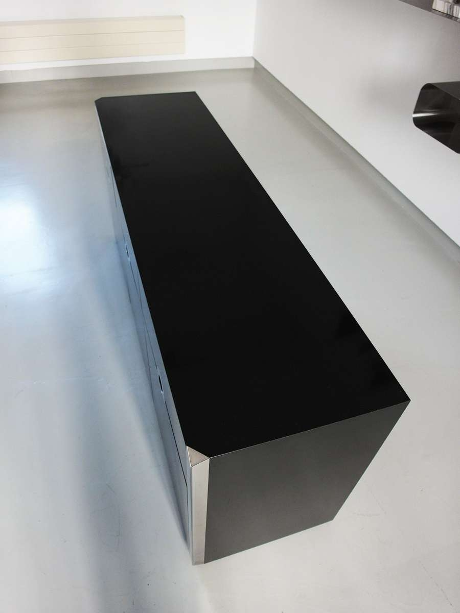 Mario Sabot Black High Gloss Sideboard, Willy Rizzo – 1970s Inside Next Black Gloss Sideboards (View 19 of 20)