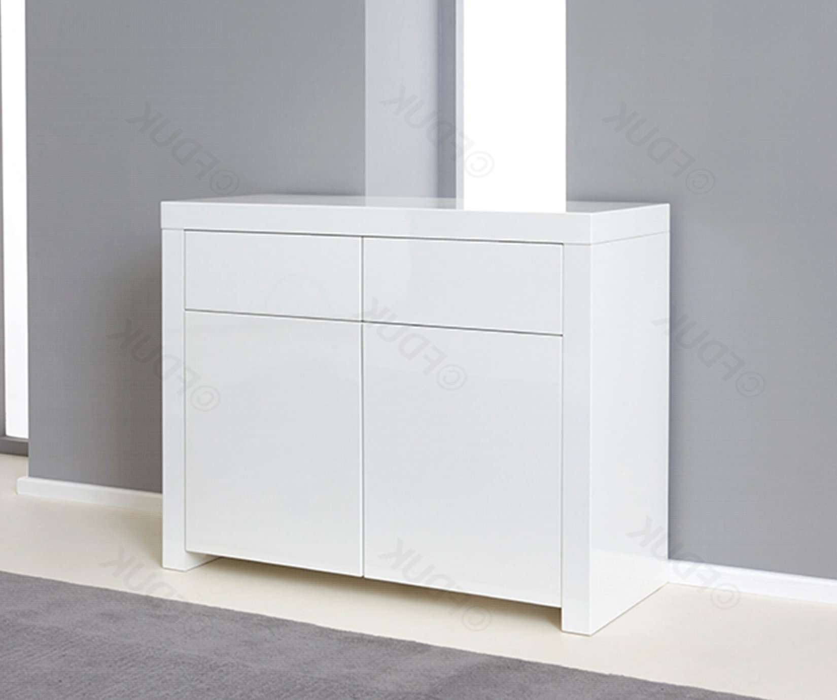 Mark Harris | Hereford 2 Door 2 Drawer White High Gloss Sideboard In White High Gloss Sideboards (View 12 of 20)