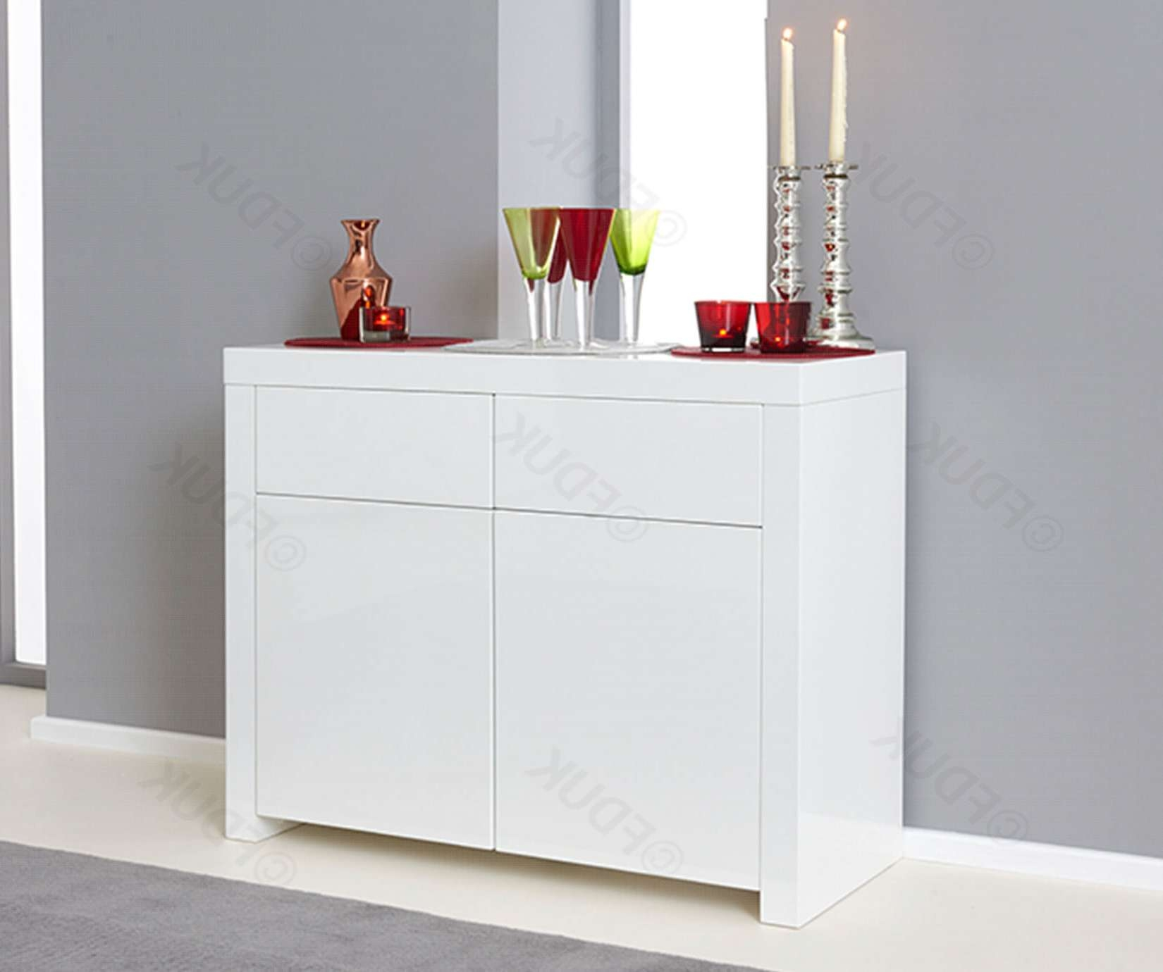 Mark Harris | Hereford 2 Door 2 Drawer White High Gloss Sideboard Regarding High White Gloss Sideboards (View 12 of 20)