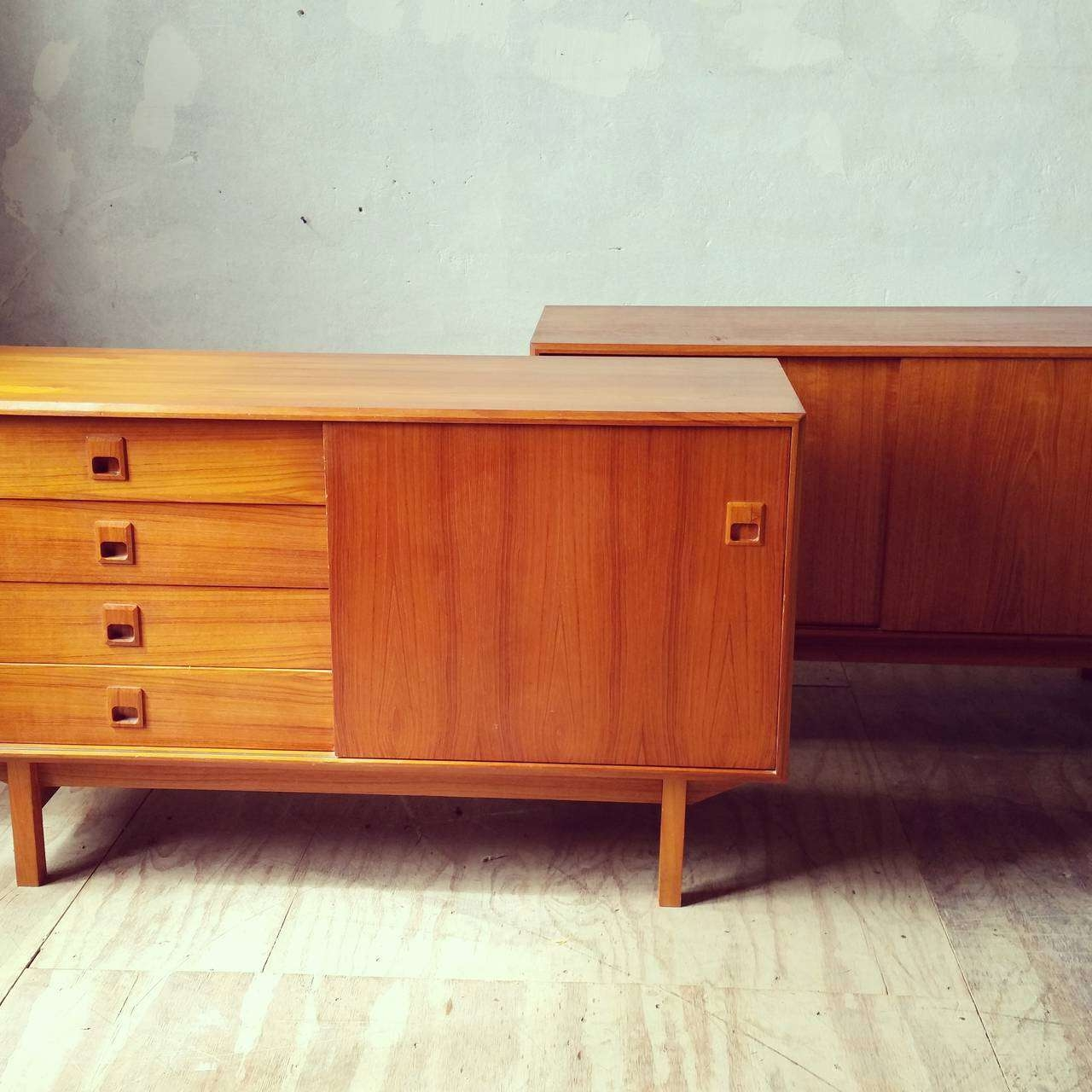 Matched Pair Of Danish Modern Teak Wood Credenzas Or Sideboards At In Credenzas And Sideboards (View 17 of 20)