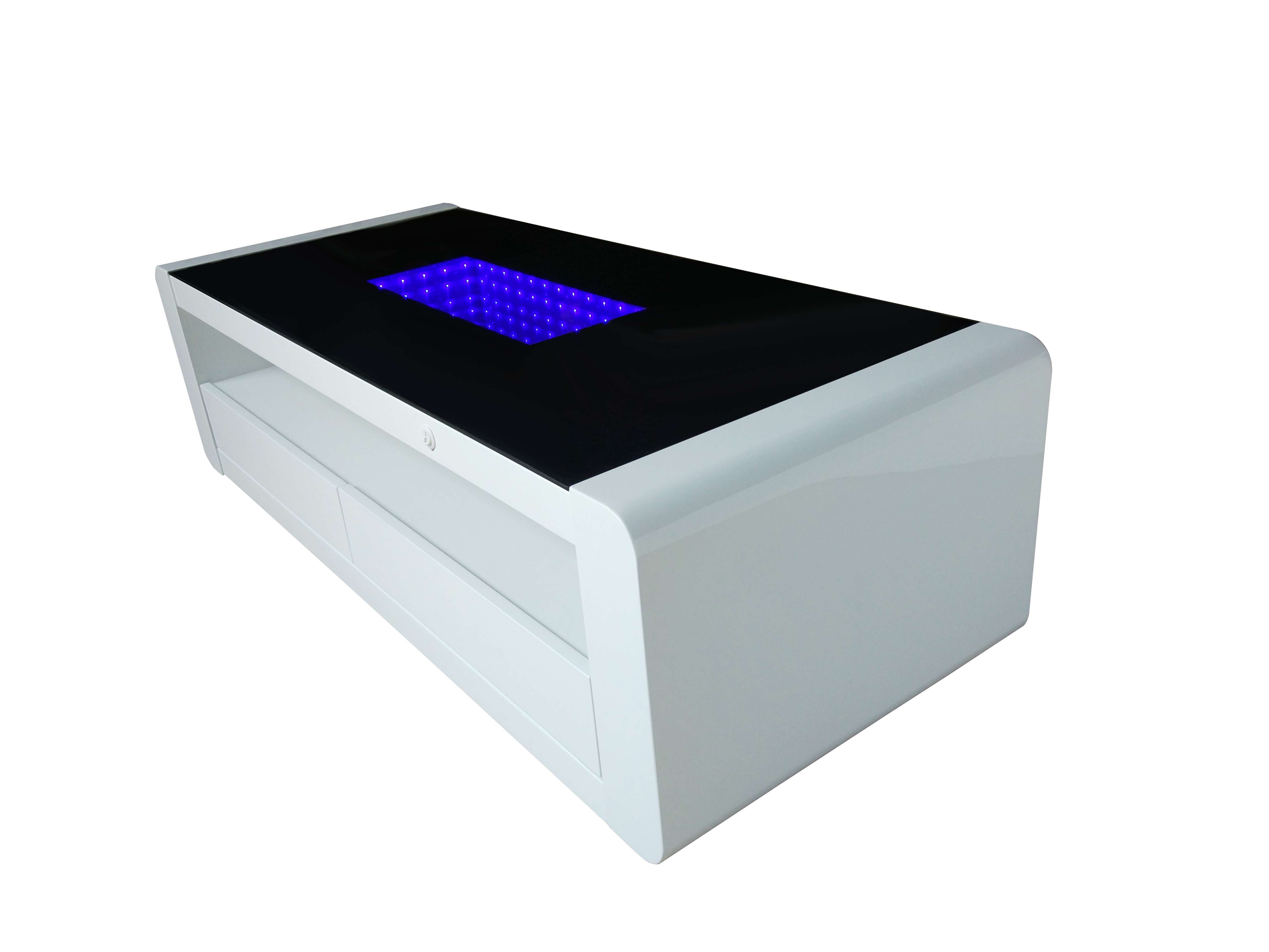 Matrix High Gloss Coffee Table – White & Black Gloss With Blue Led Pertaining To Trendy White High Gloss Coffee Tables (View 9 of 20)