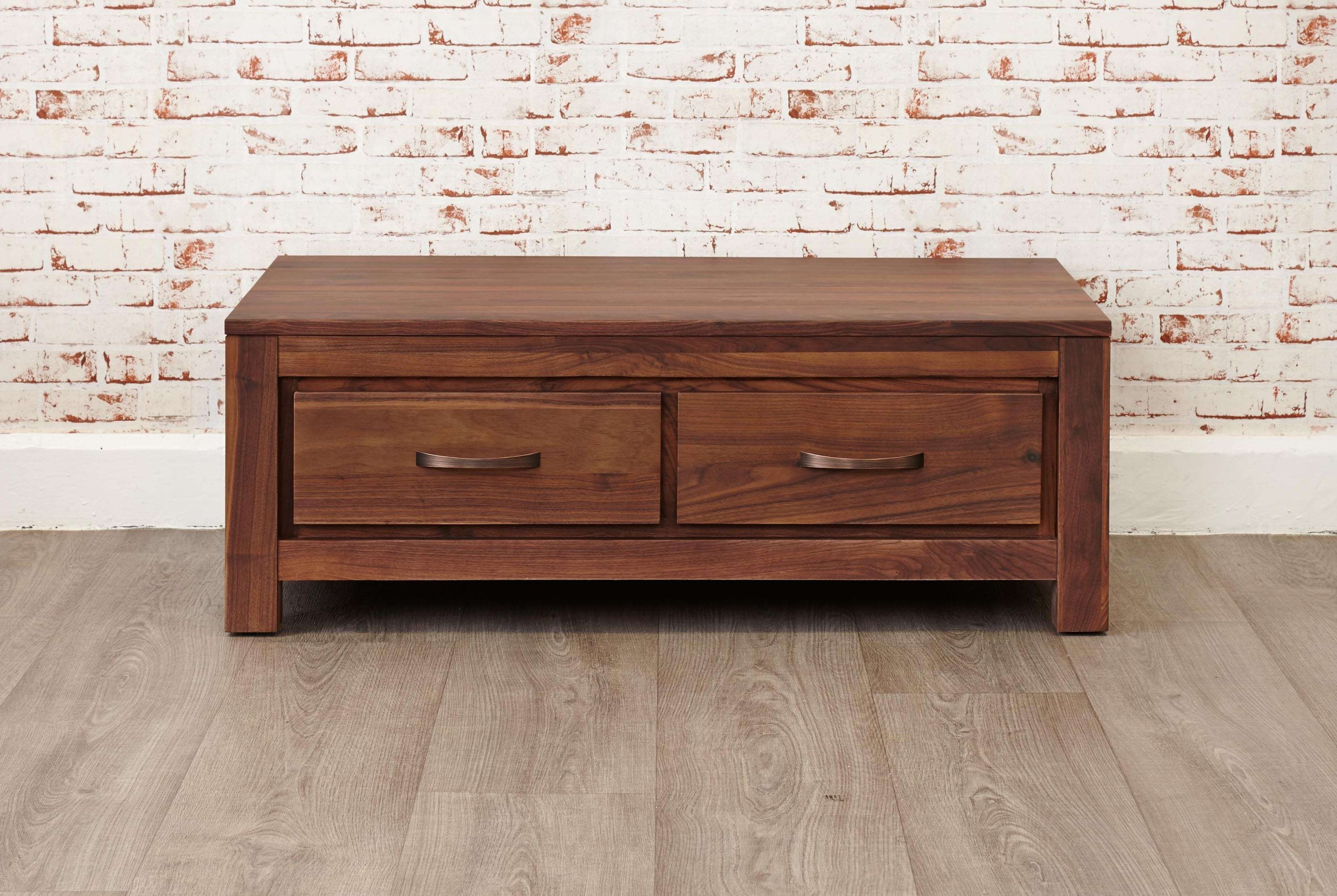Mayan Walnut Low Four Drawer Coffee Table (Cwc08B) Throughout Preferred Low Coffee Tables With Drawers (View 15 of 20)