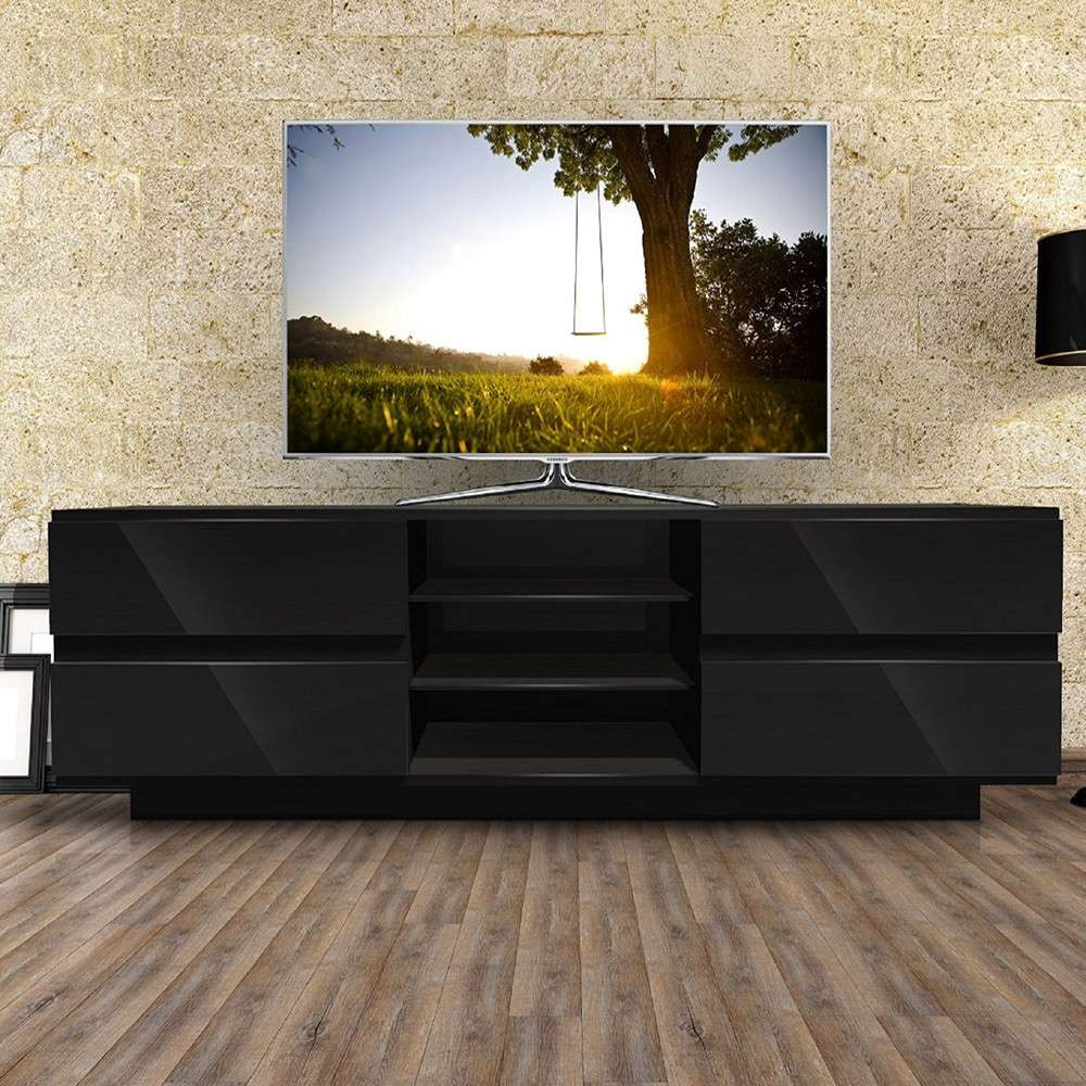 Mda Designs Avitus 1600 Black Tv Stand Within Black Tv Cabinets With Drawers (View 12 of 20)