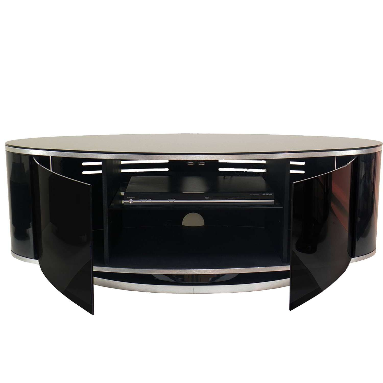 "Mda Designs Luna Av High Gloss Black Oval Tv Cabinet Up To 55"" Tvs For Tv Cabinets Black High Gloss (View 18 of 20)"