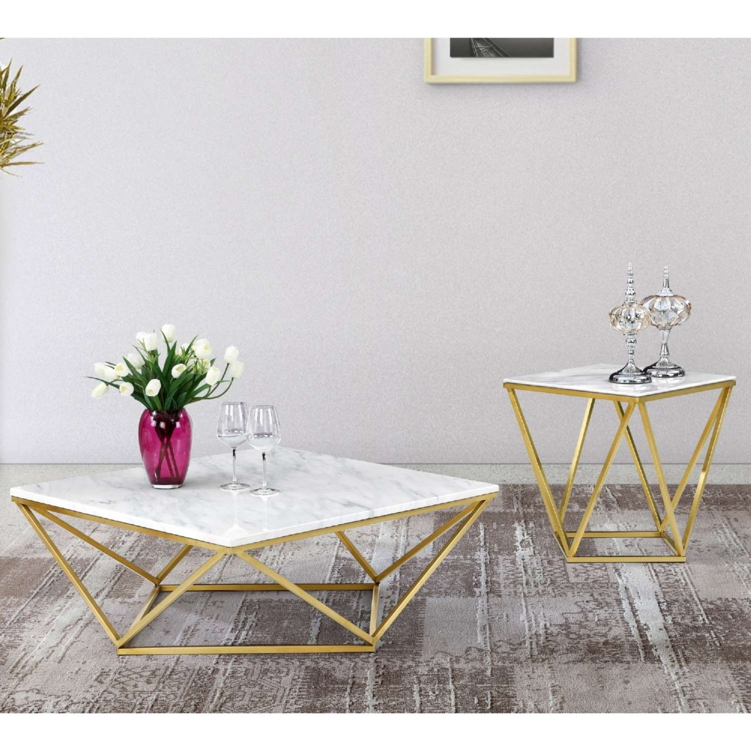 Meridian Furniture 216 C Mason Gold Geometric Coffee Table W Throughout Newest C Coffee Tables (View 10 of 20)