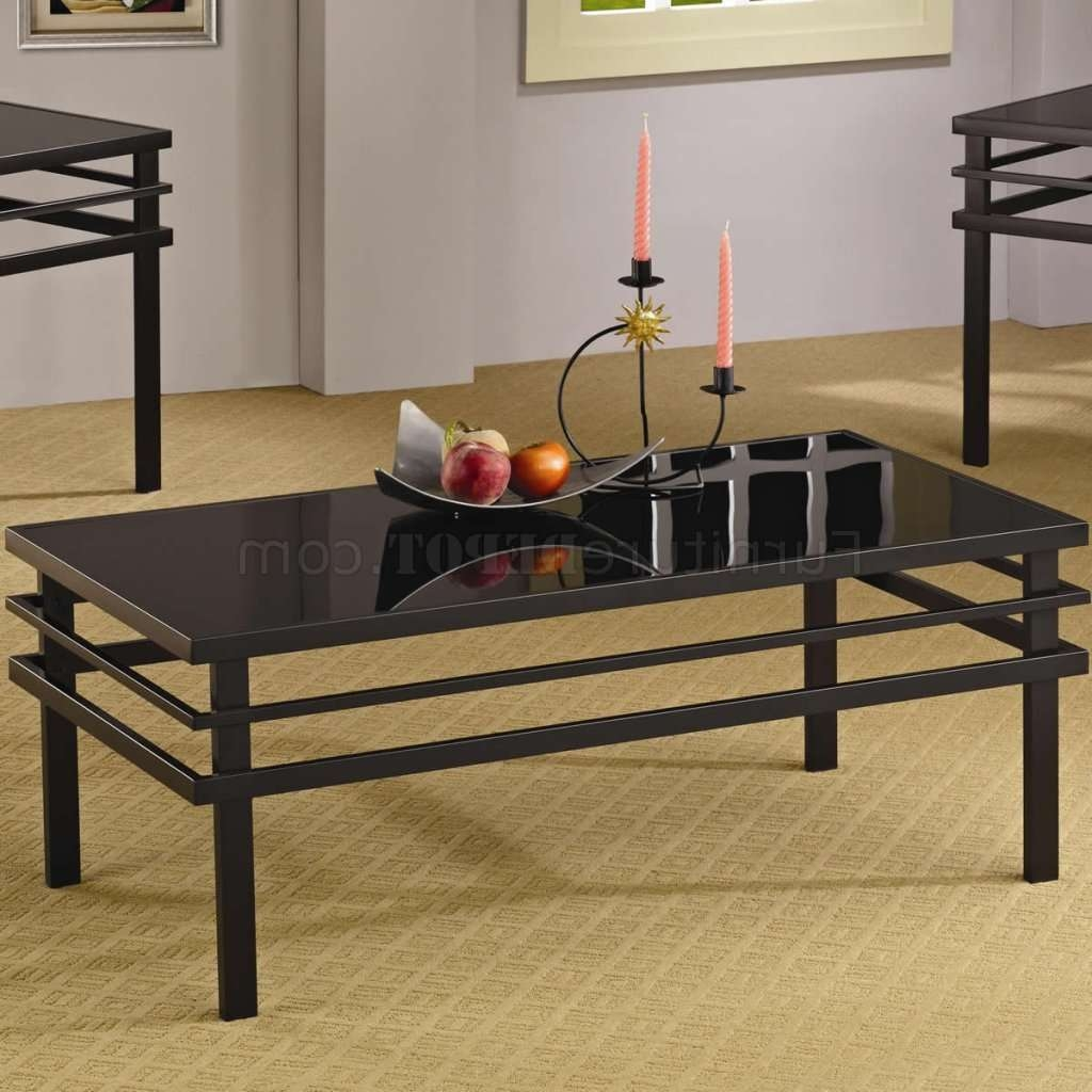 Metal Base & Glass Top Modern 3Pc Coffee Table Set For Famous Dark Glass Coffee Tables (View 13 of 20)