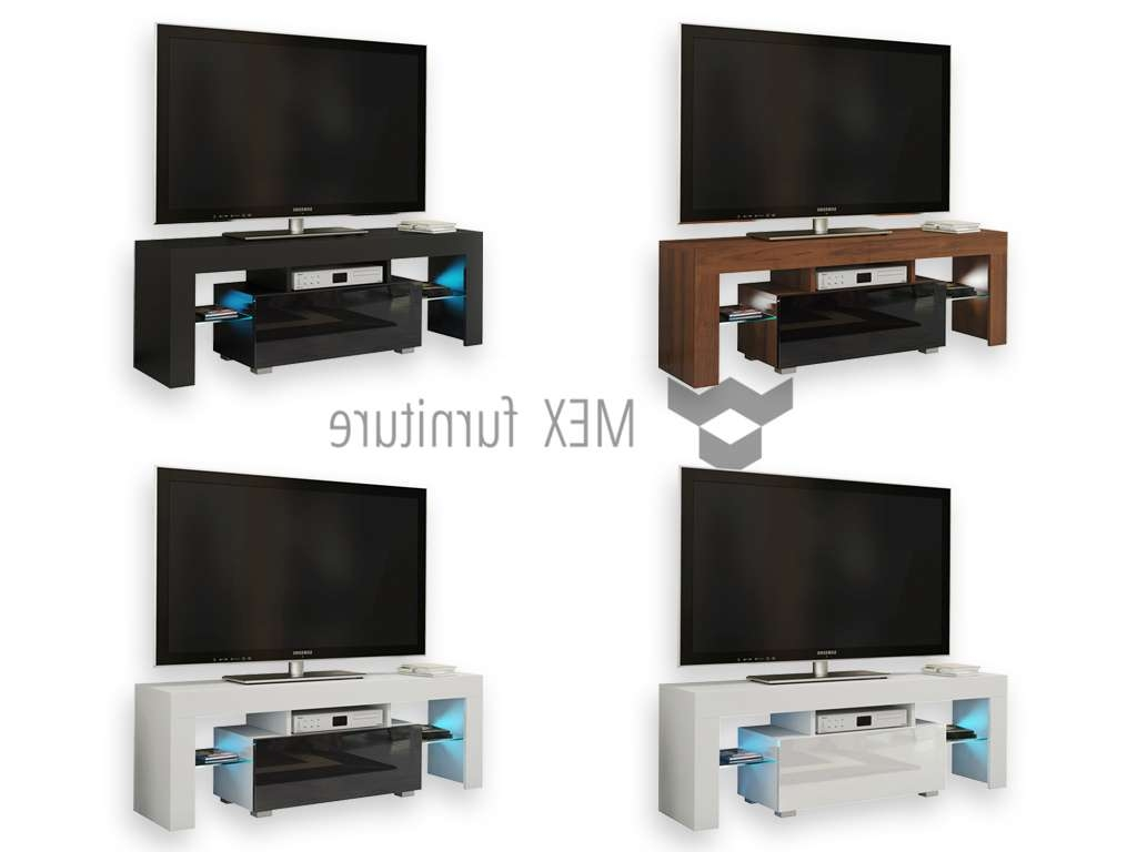 Mex Furniture » Modern Tv Unit [016] 130cm High Gloss Finish With High Gloss Tv Cabinets (View 17 of 20)
