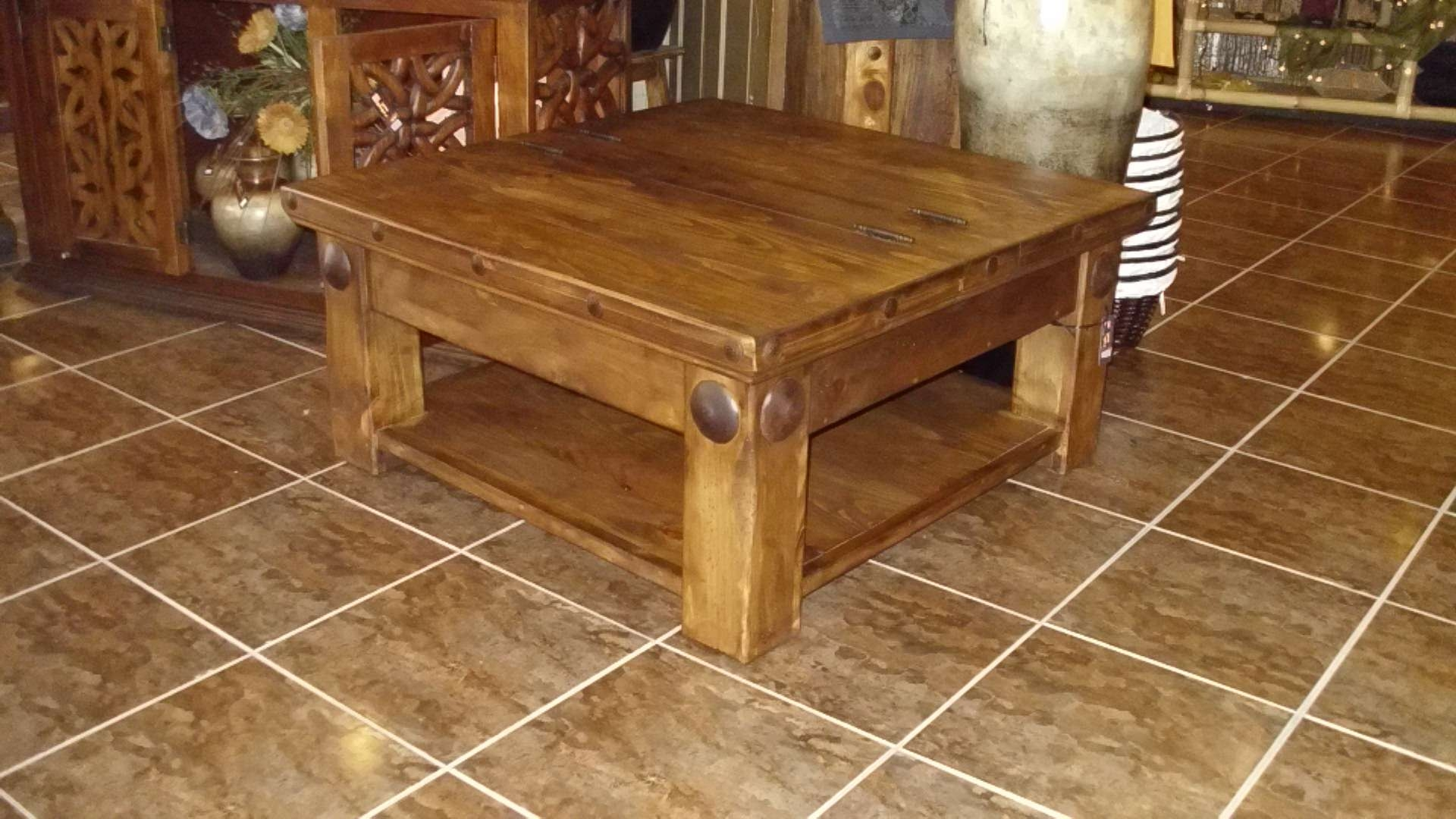 Mexican Square Solid Pine Coffee Table Birdie S Nest For Widely Used
