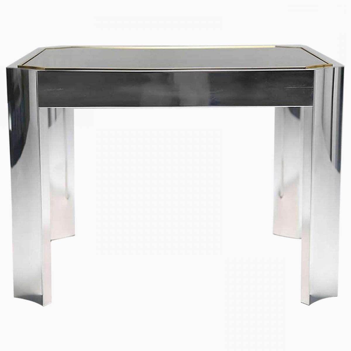 Mid Century Coffee Table With Aluminium Base And Brass Trim For Pertaining To Best And Newest Aluminium Coffee Tables (View 14 of 20)