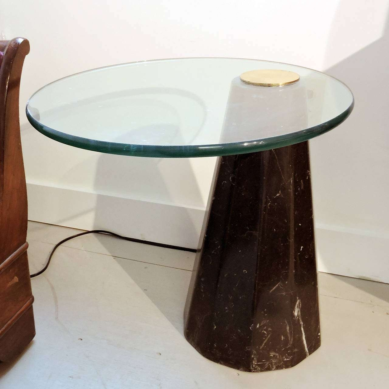 Mid Century Marble Glass Cantilevered Side Table In The Style Of Pertaining To Best And Newest Marble And Glass Coffee Table (View 8 of 20)