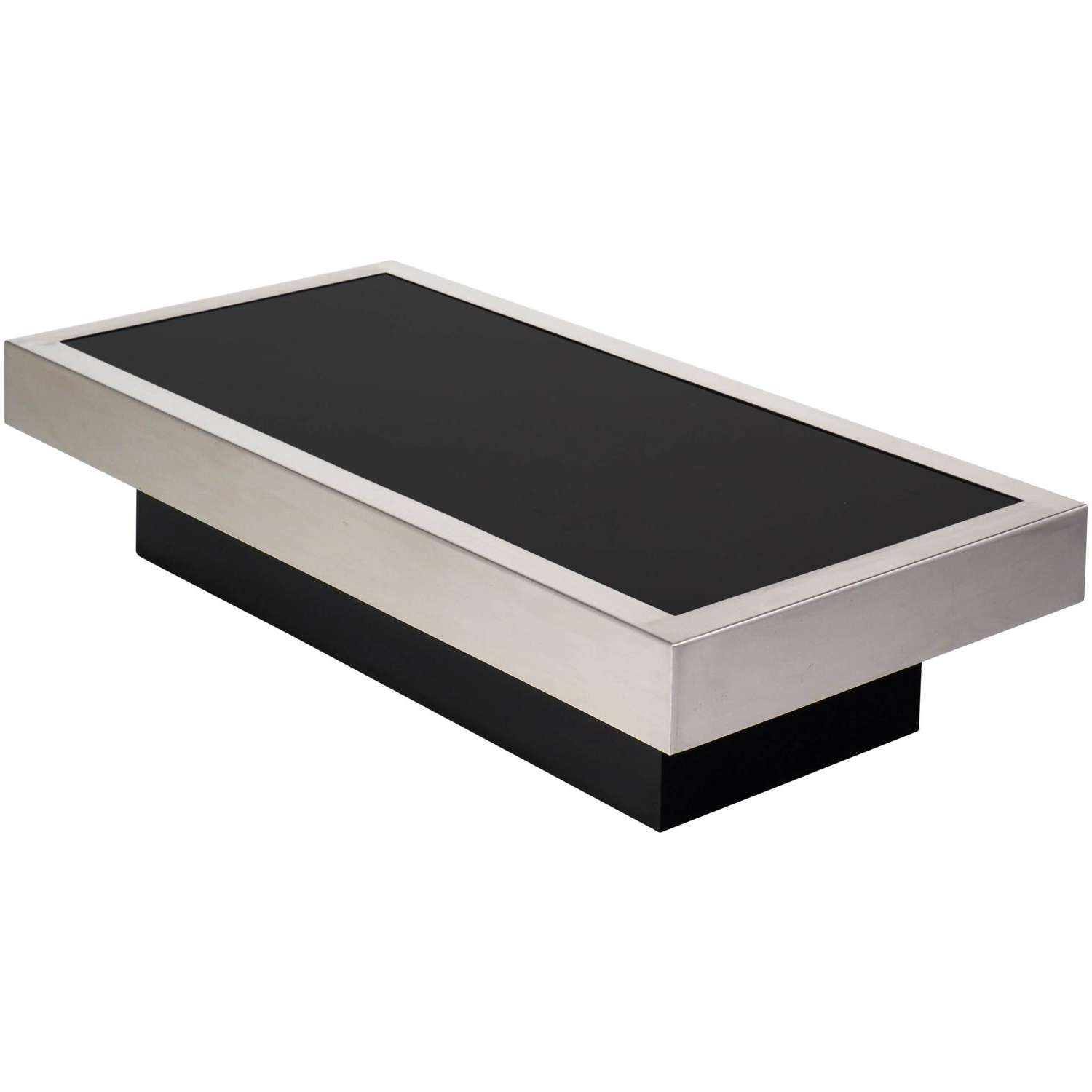 Mid Century Modern Black Glass Chrome Coffee Table – Jean Marc Fray For Newest Modern Chrome Coffee Tables (View 11 of 20)