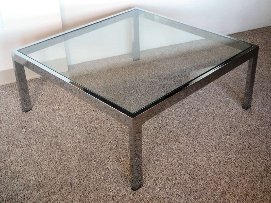 Mid Century Modern Chrome & Glass Coffee Table – Julesmoderne Pertaining To Well Known Modern Chrome Coffee Tables (View 9 of 20)