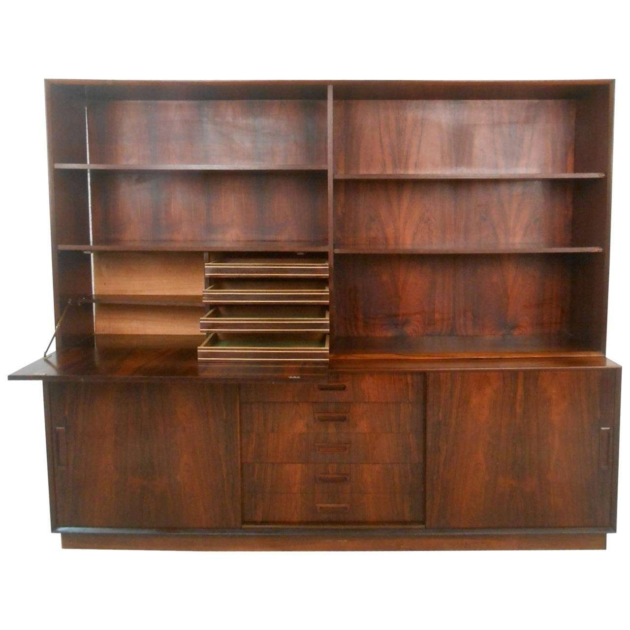 Mid Century Modern Danish Rosewood Sideboard With Drop Front Hutch Regarding Sideboards And Hutches (View 12 of 20)