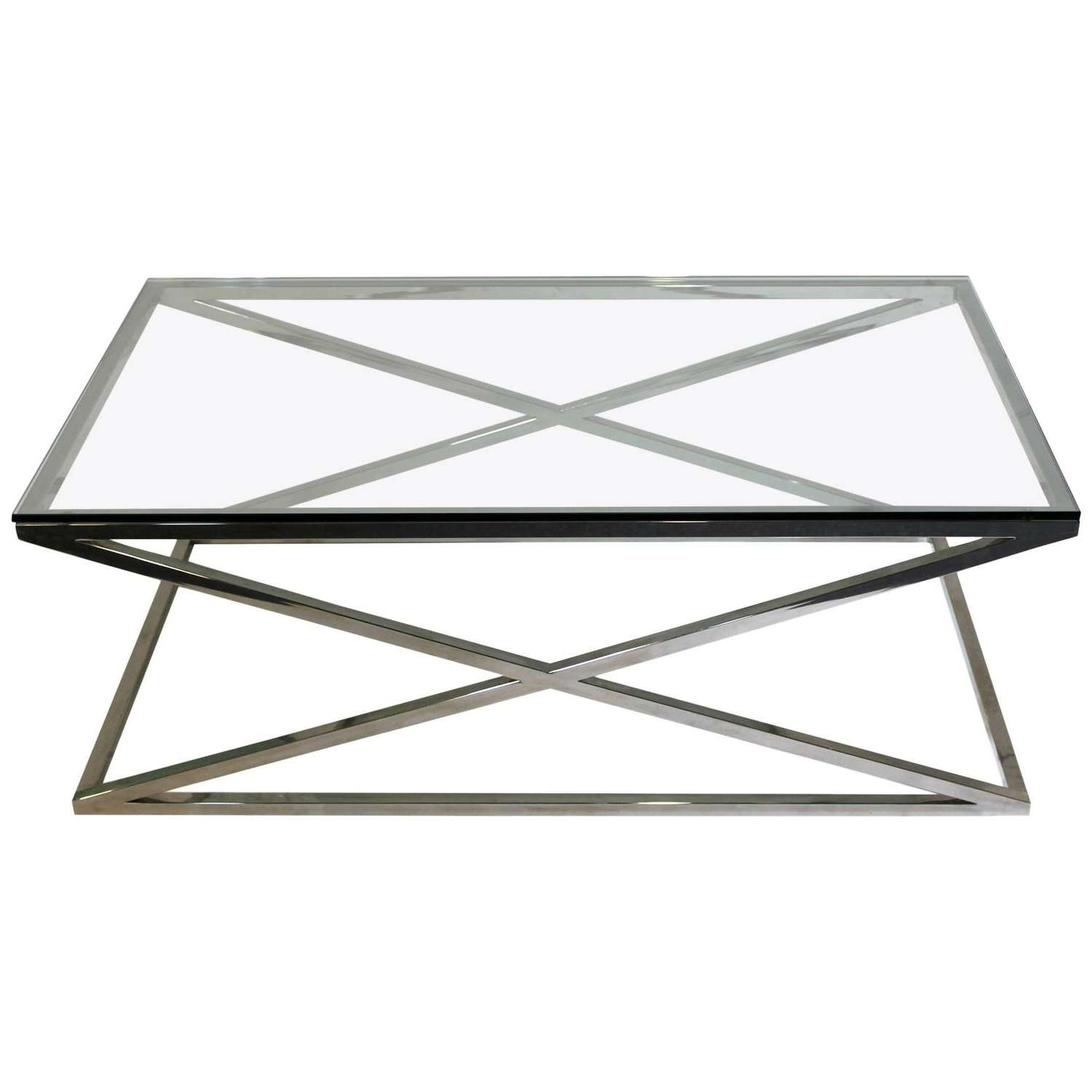 Mid Century Modern Rectangular Glass Coffee Table Chrome X Base At For Latest Rectangle Glass Chrome Coffee Tables (View 16 of 20)