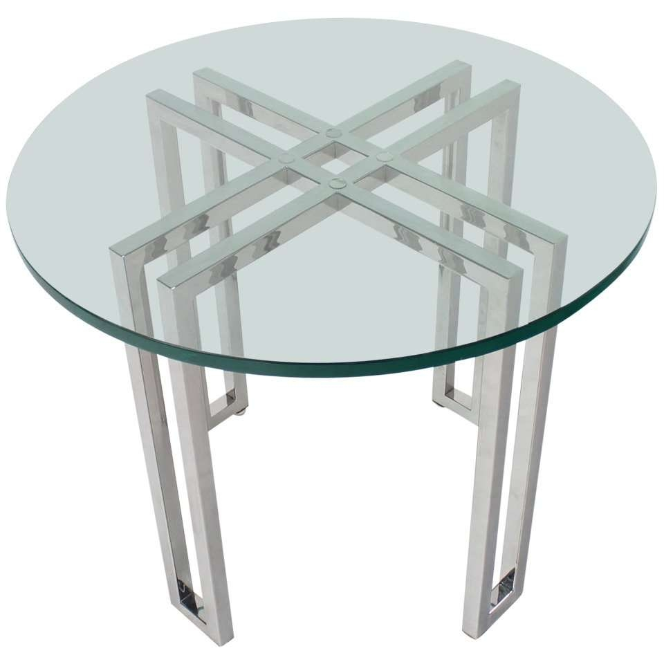 Mid Century Modern Round Chrome Base And Glass Top Side Table For In Best And Newest Round Chrome Coffee Tables (View 12 of 20)