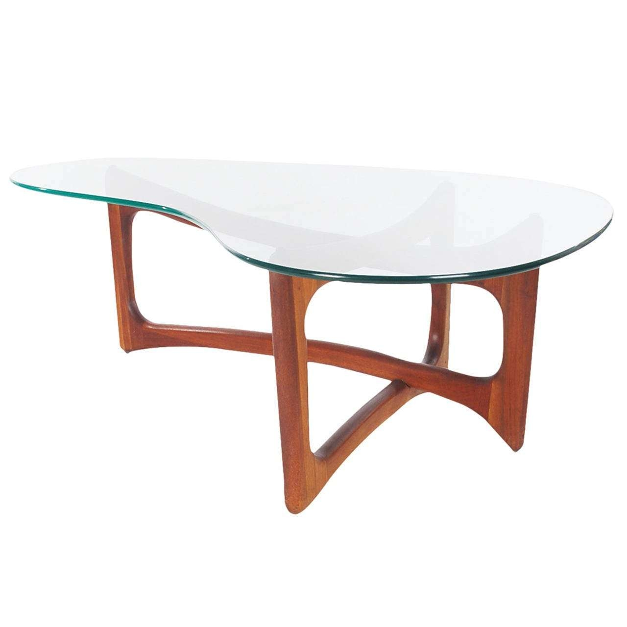 Mid Century Modern Walnut And Glass Kidney Coffee Tableadrian Within Popular Oval Shaped Glass Coffee Tables (View 8 of 20)