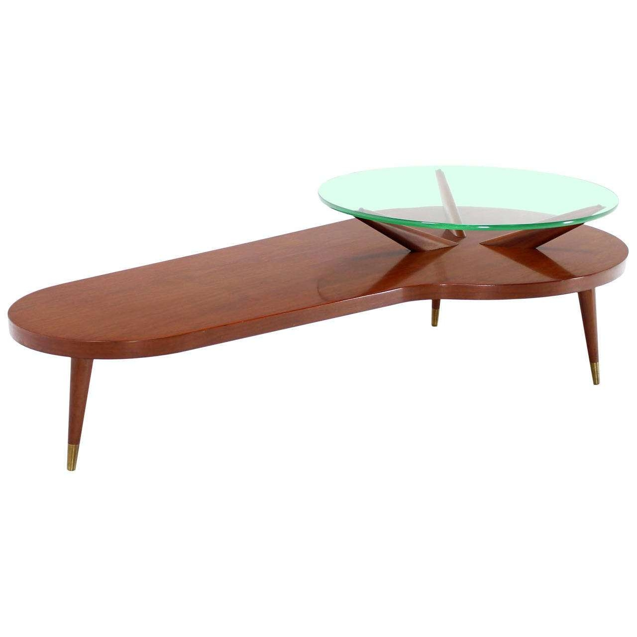 Mid Century Modern Walnut Organic Kidney Shape Coffee Table Round With Fashionable Oval Shaped Glass Coffee Tables (View 7 of 20)