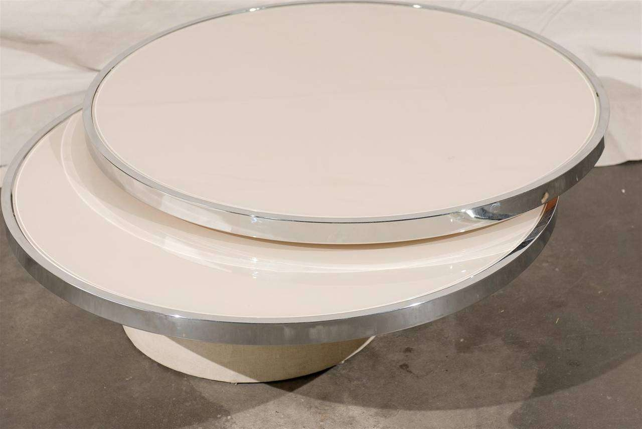 Mid Century Round Rotating Glass Coffee Table In The Style Of Throughout Latest Revolving Glass Coffee Tables (View 6 of 20)