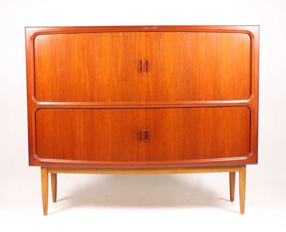 Mid Century Teak Sideboard With Tambour Doors, 1950S For Sale At With Regard To Teak Sideboards (View 11 of 20)