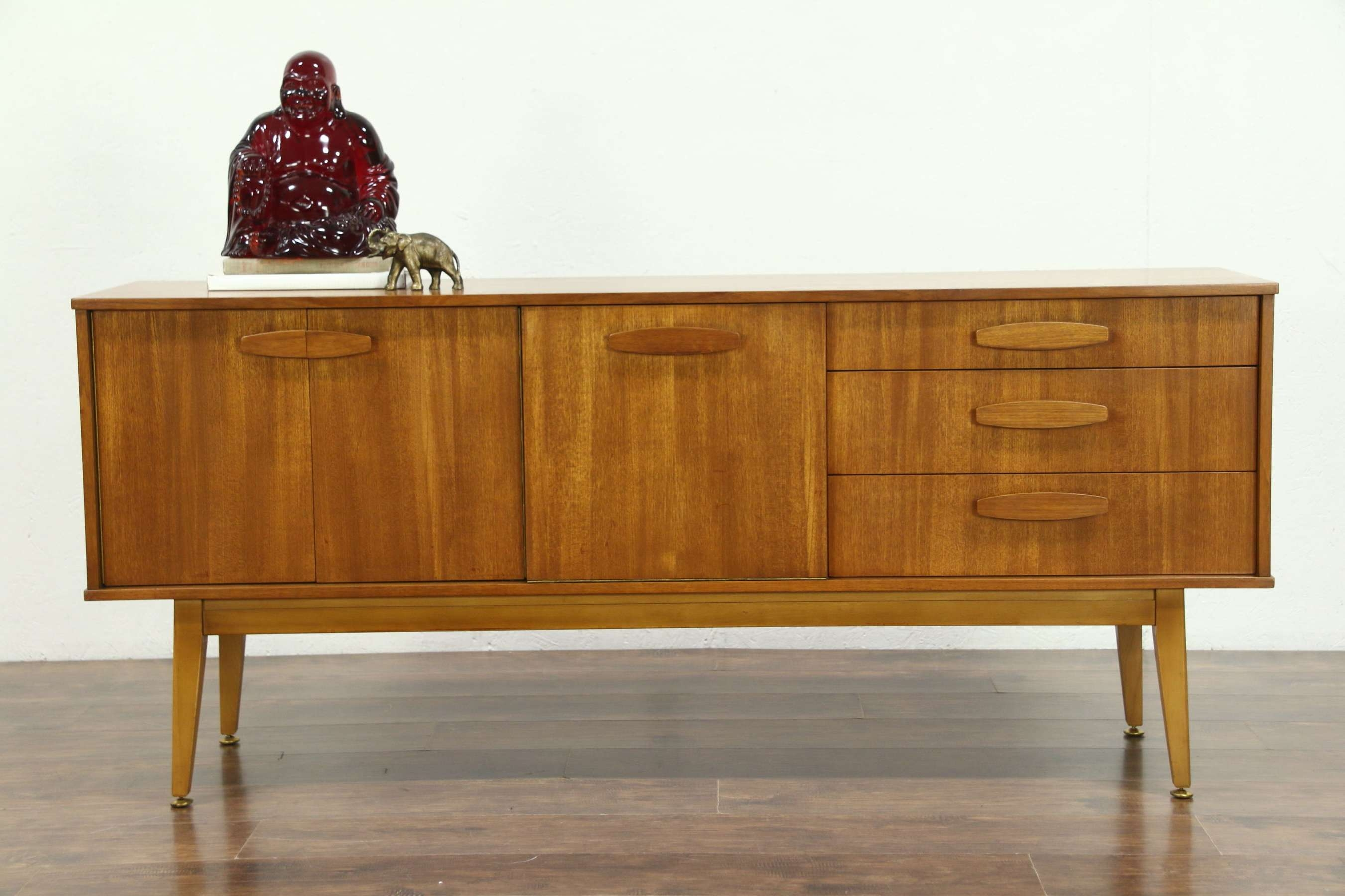 Midcentury Modern 1960's Teak Sideboard, Bar Cabinet Or Tv Console Within Midcentury Sideboards (View 13 of 20)