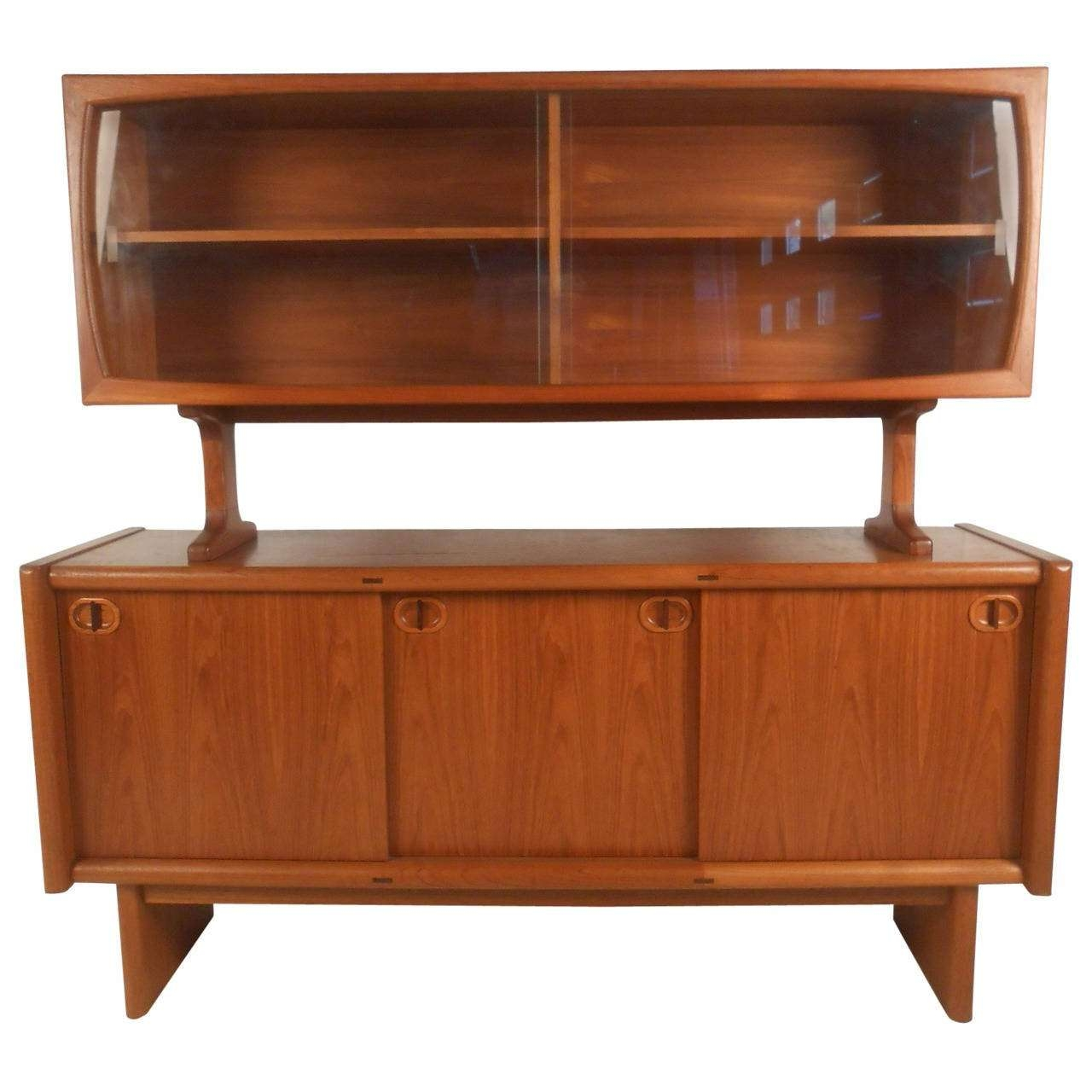 Midcentury Style Danish Teak Sideboard With Display Topper For With Regard To Teak Sideboards (View 13 of 20)