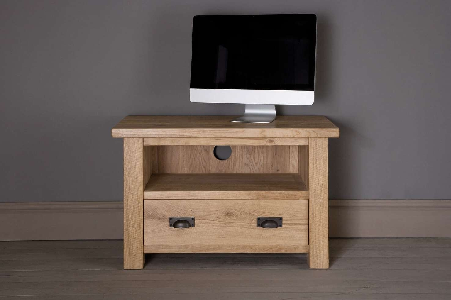 Midi Oak Tv Cabinet With Drawerindigo Furniture Within Oak Tv Cabinets (View 3 of 20)