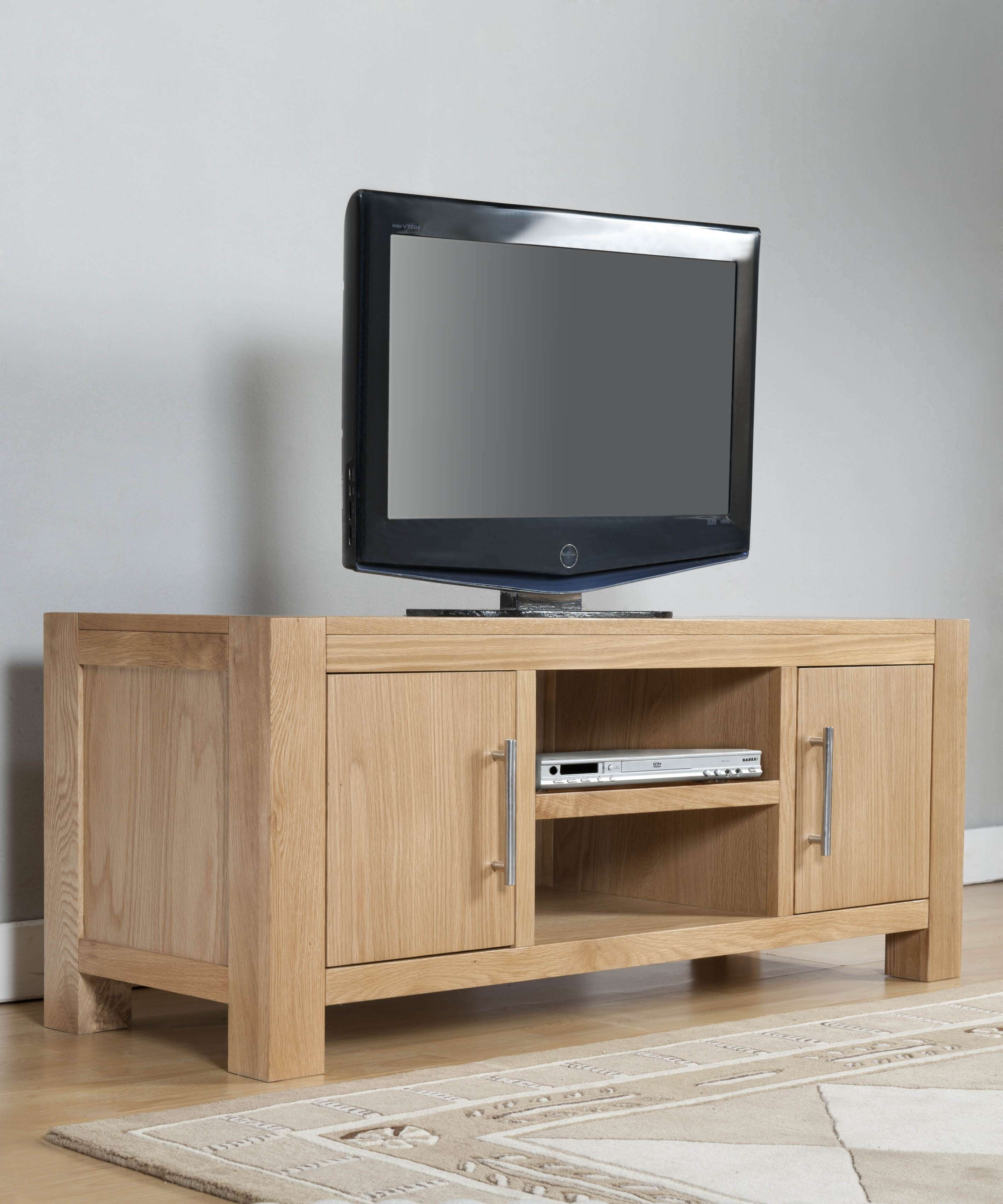 Milano Oak 2 Door Tv Stand With Shelf | Oak Furniture Solutions With Oak Tv Cabinets With Doors (View 9 of 20)