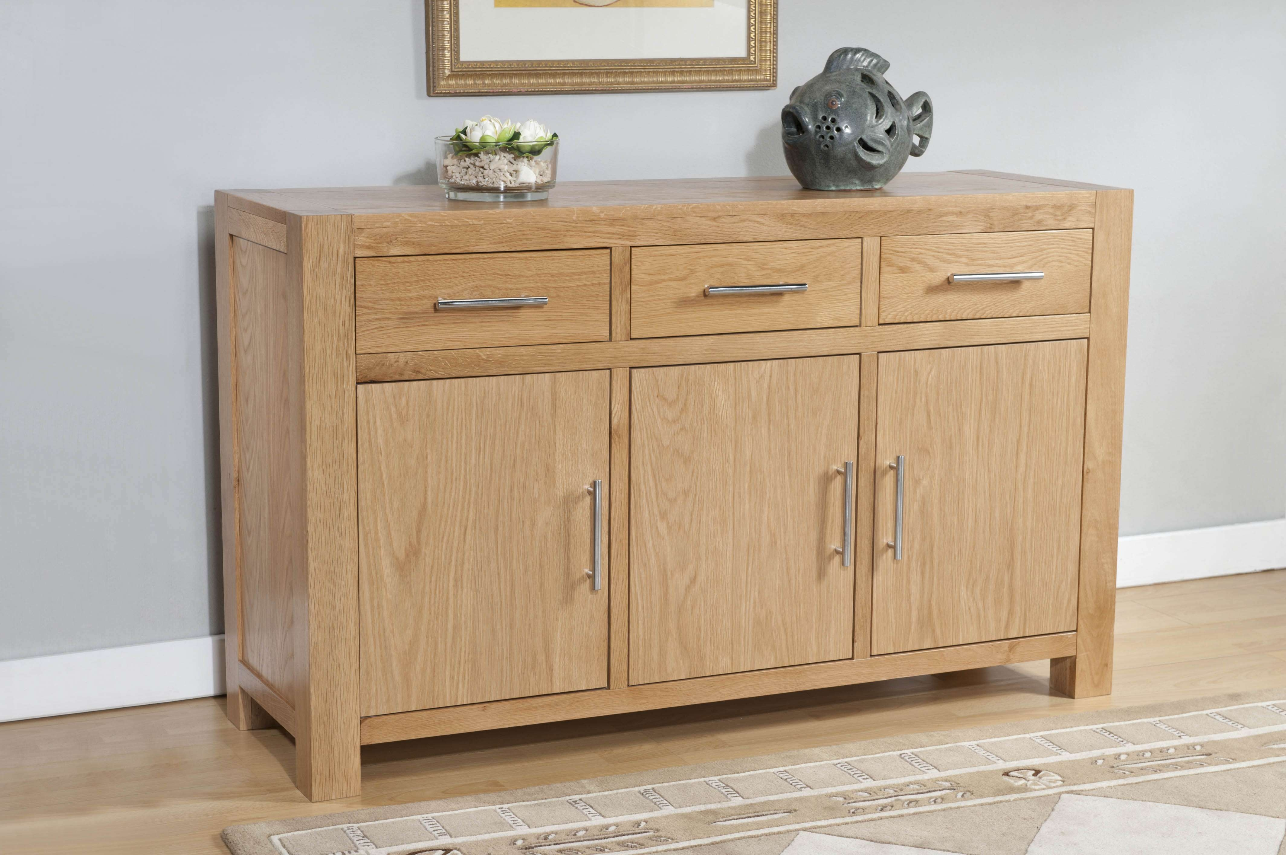 Milano Oak 3 Door 3 Drawer Large Sideboard | Oak Furniture Solutions Within Sideboards With Drawers (View 2 of 20)
