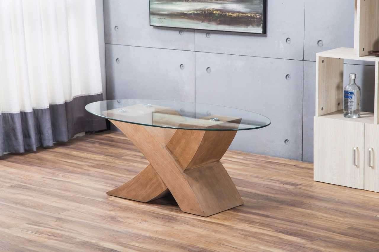 """Milano Oak """"x"""" Wood & Glass Coffee Table (View 12 of 20)"""