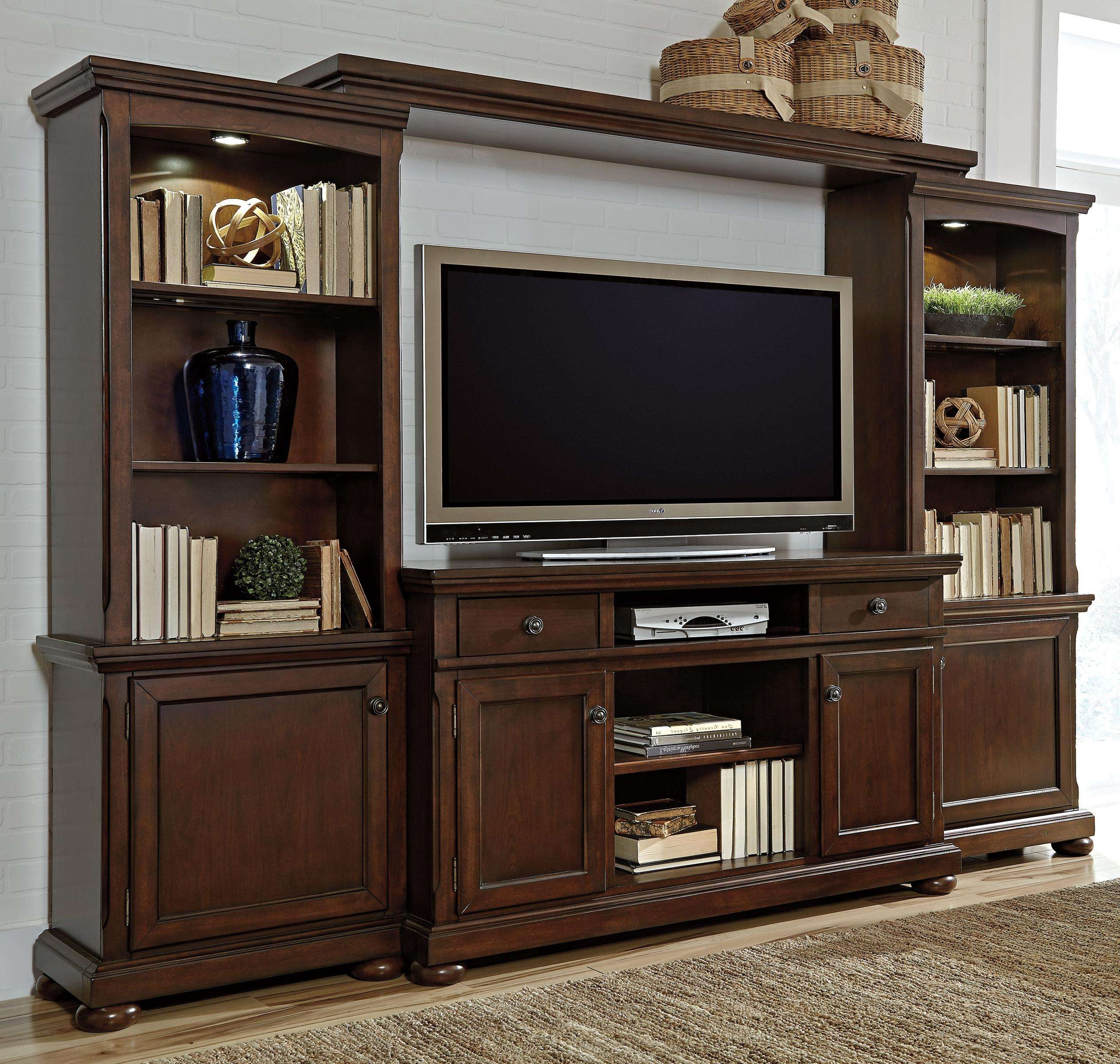 Millennium Porter Entertainment Wall Unit W/ Extra Large Tv Stand Regarding Large Tv Cabinets (View 14 of 20)