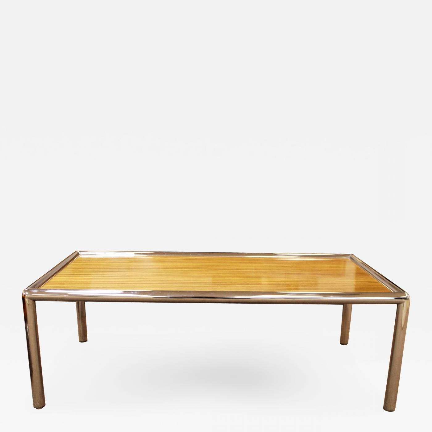 Milo Baughman – Mid Century Modern Zebra Wood Tubular Chrome Within Well Known Chrome And Wood Coffee Tables (View 11 of 20)