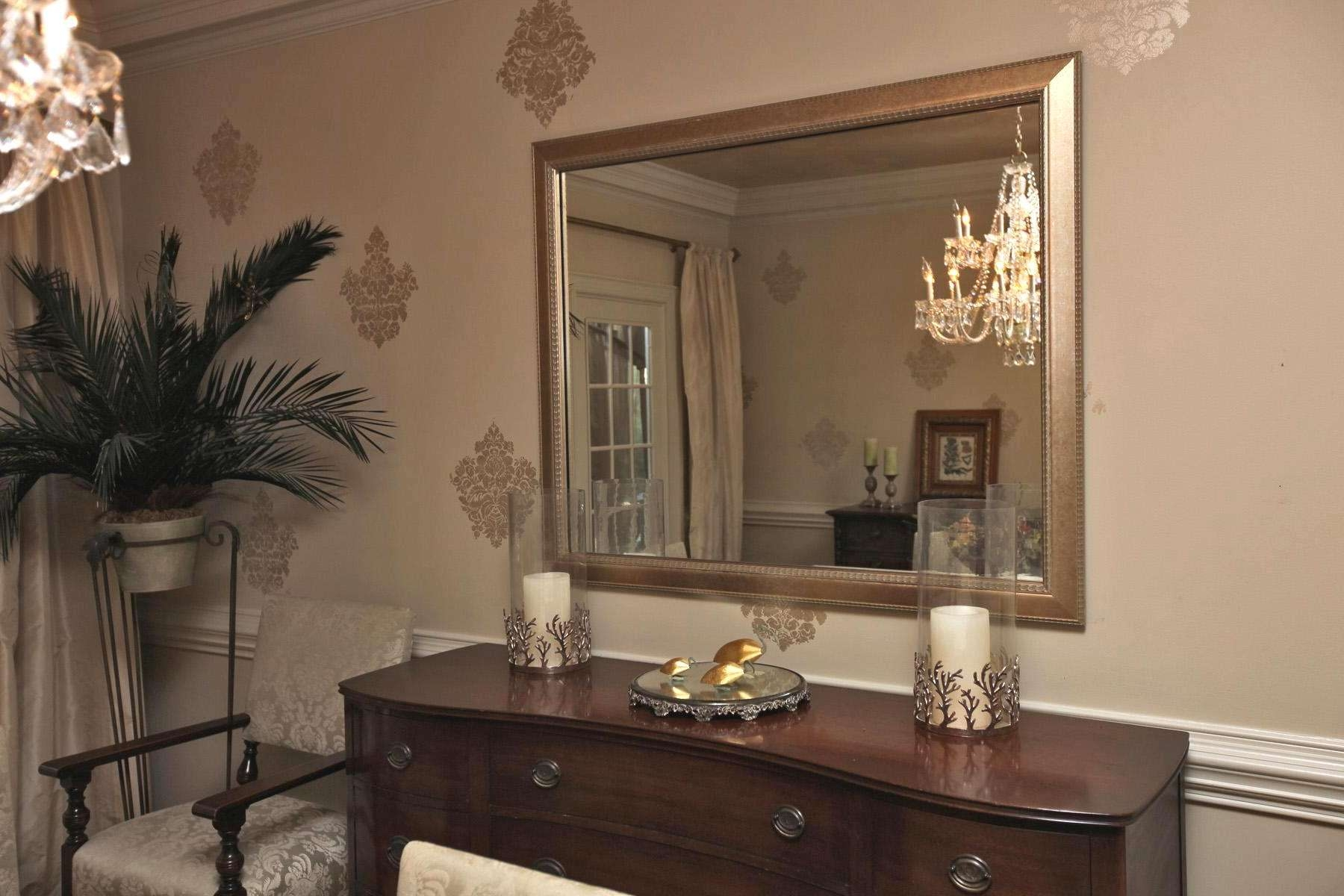 Mirror In Dining Room, Mirror Over Dining Room Buffet Decorative Within Mirror Over Sideboards (View 9 of 20)