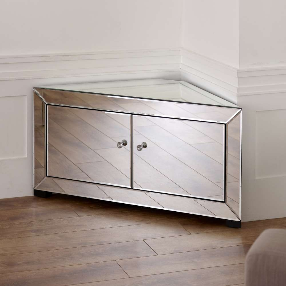 Mirror Tv Cabinet, Venetian Mirrored Rner Tv Cabinet To Fit Tvs Up Throughout Mirrored Tv Cabinets (View 6 of 20)