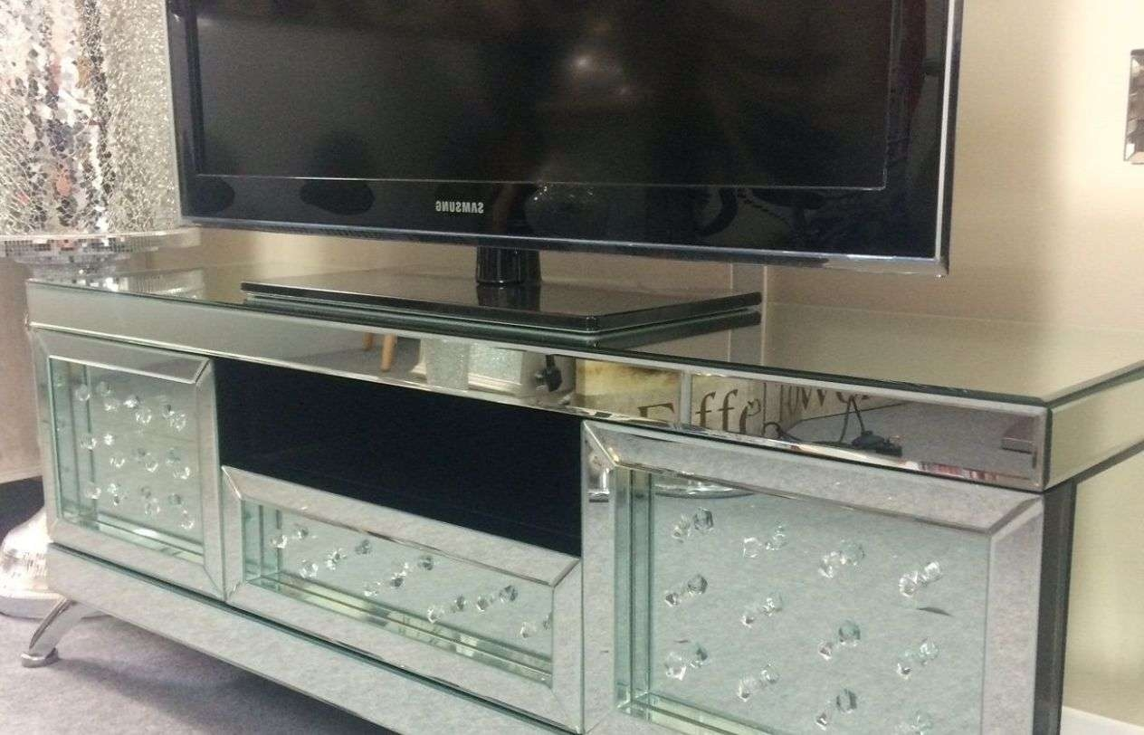 Mirror : Venetian Mirrored With Floating Crystal Tv Stand P Within Mirror Tv Cabinets (View 15 of 20)