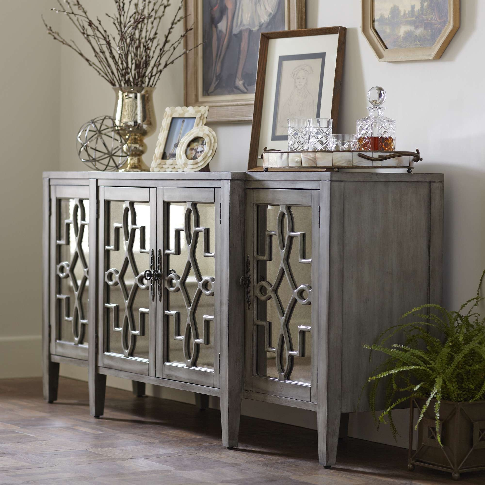 Mirrored Buffet Cabinet Home Design Elegant Sideboards Sideboard Intended For Mirrored Buffet Sideboards (View 12 of 20)