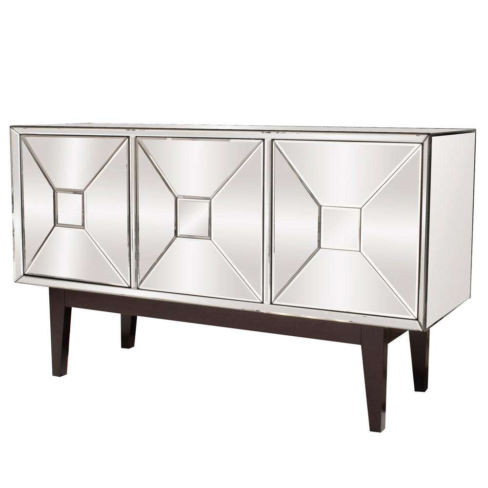 Mirrored Buffet Cabinet With Three Doors 68086 – The Home Depot Intended For Mirrored Sideboards And Buffets (View 9 of 20)