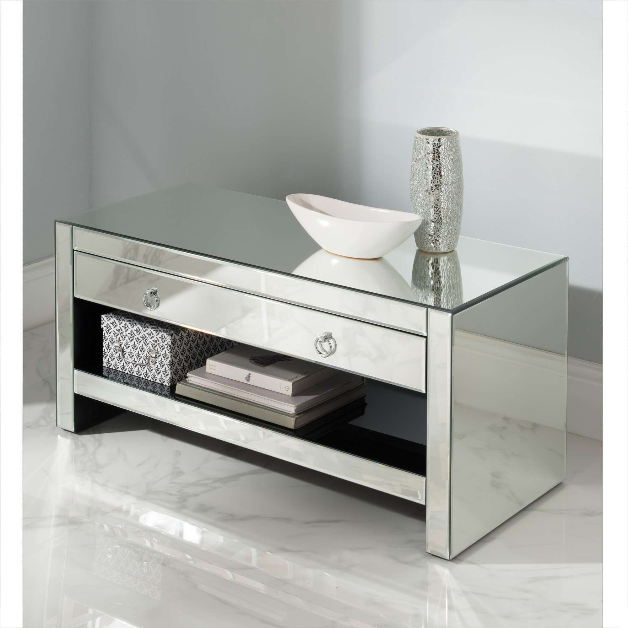 Mirrored Tv Cabinet | Glass Venetian Furniture | Homesdirect365 Inside Mirror Tv Cabinets (View 2 of 20)
