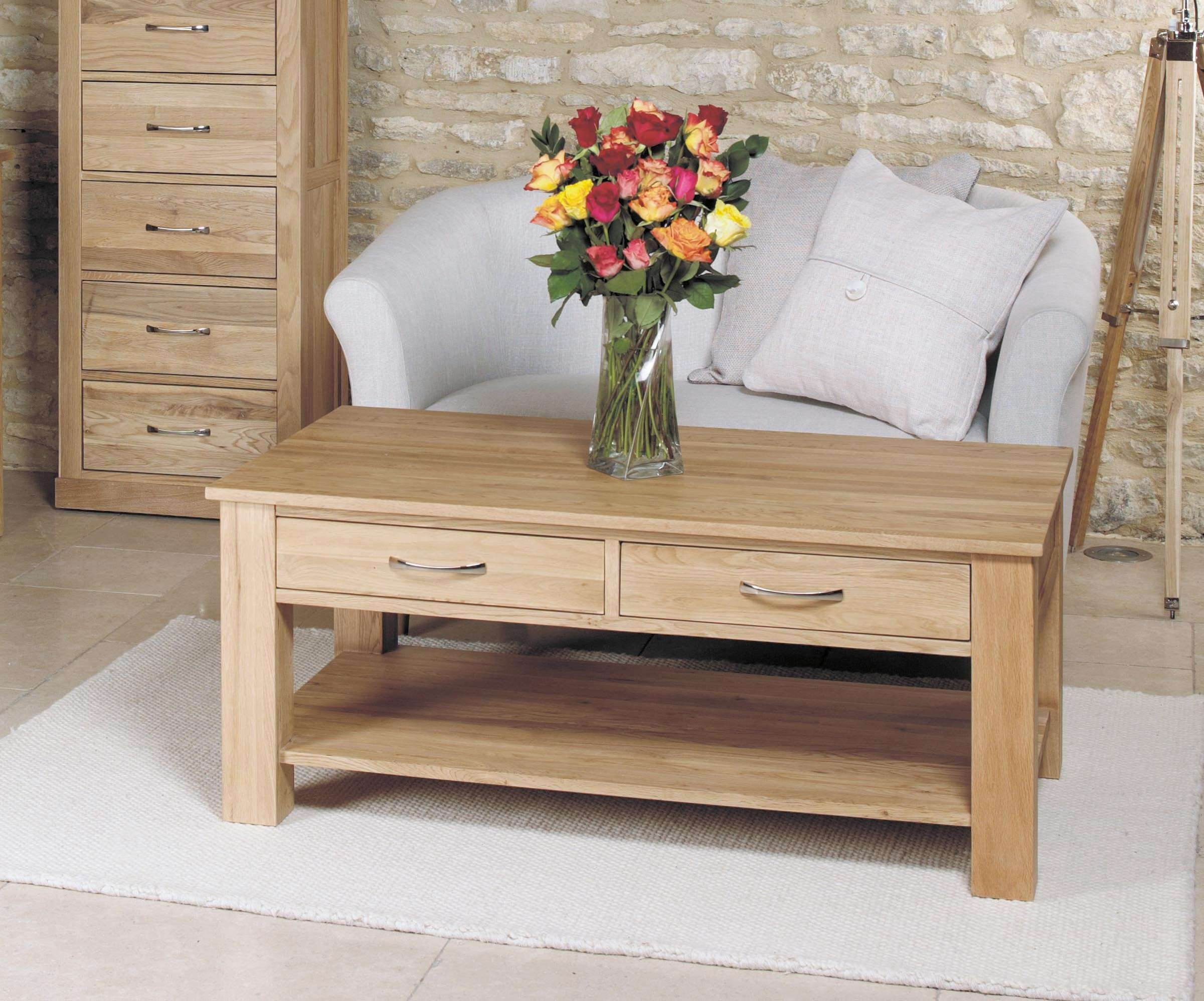 Mobel Oak Four Drawer Coffee Table (Cor08D) For Fashionable Light Oak Coffee Tables With Drawers (View 12 of 20)