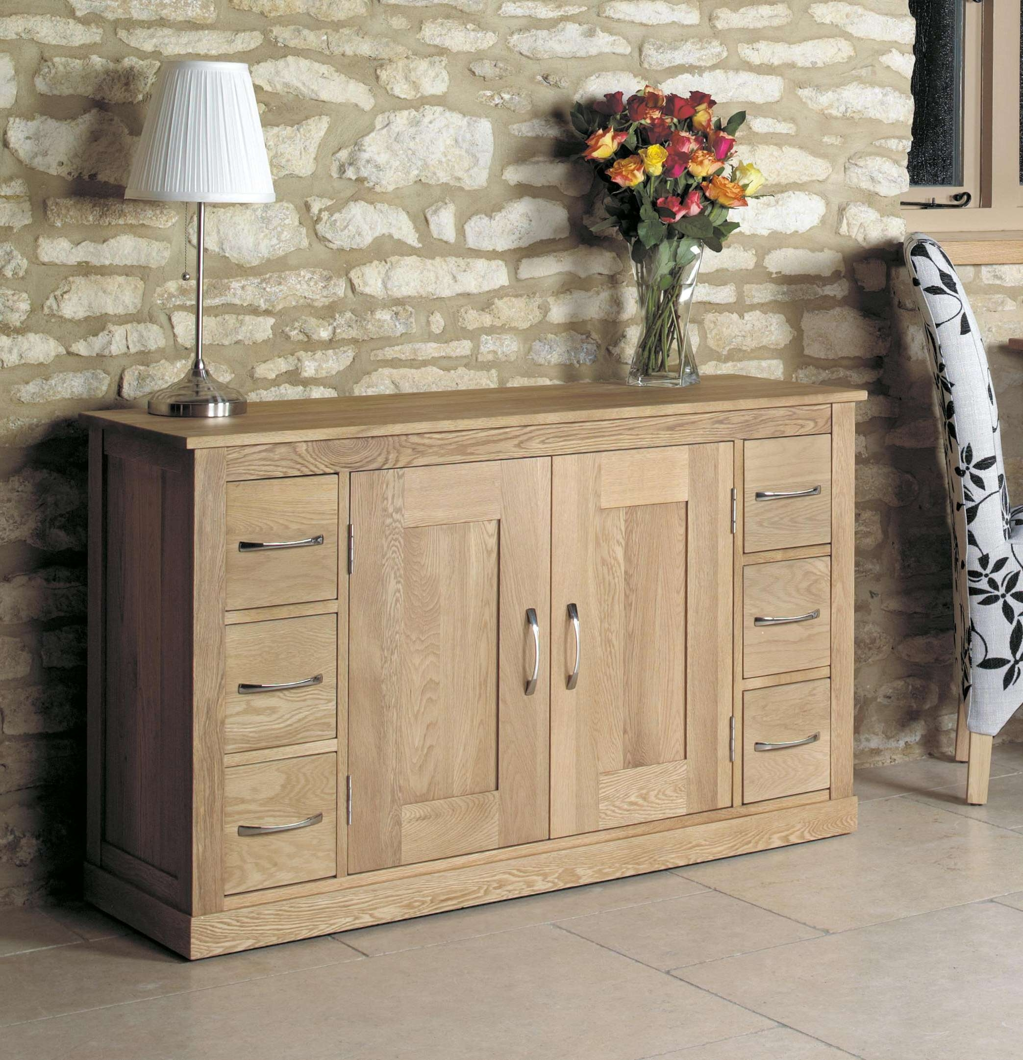 Mobel Oak Six Drawer Sideboard (Cor02B) Within Sideboards With Drawers (View 13 of 20)