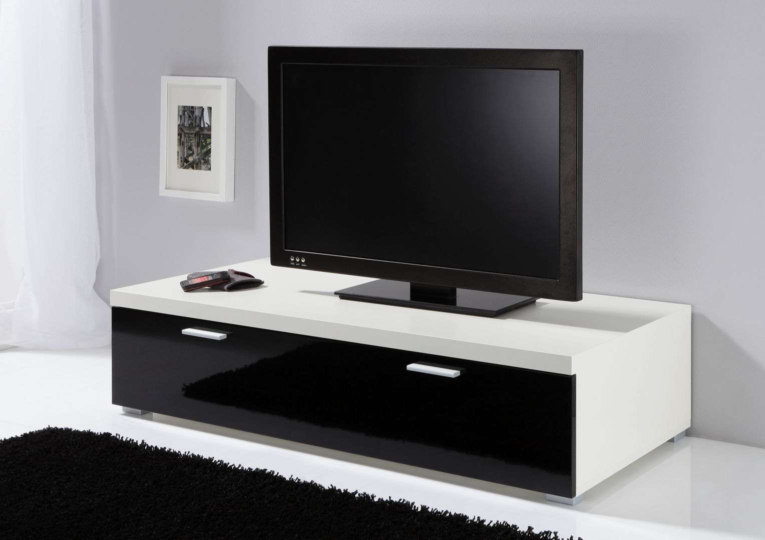 Modanuvo Low Tv Unit, Tv Cabinet, Tv Stand Off White & Black High Pertaining To Tv Cabinets Black High Gloss (View 15 of 20)