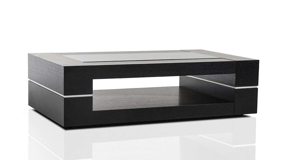 Modern Black Oak Rectangular Coffee Table Baltimore Maryland Vig B682A Inside Famous Black Coffee Tables (View 14 of 20)