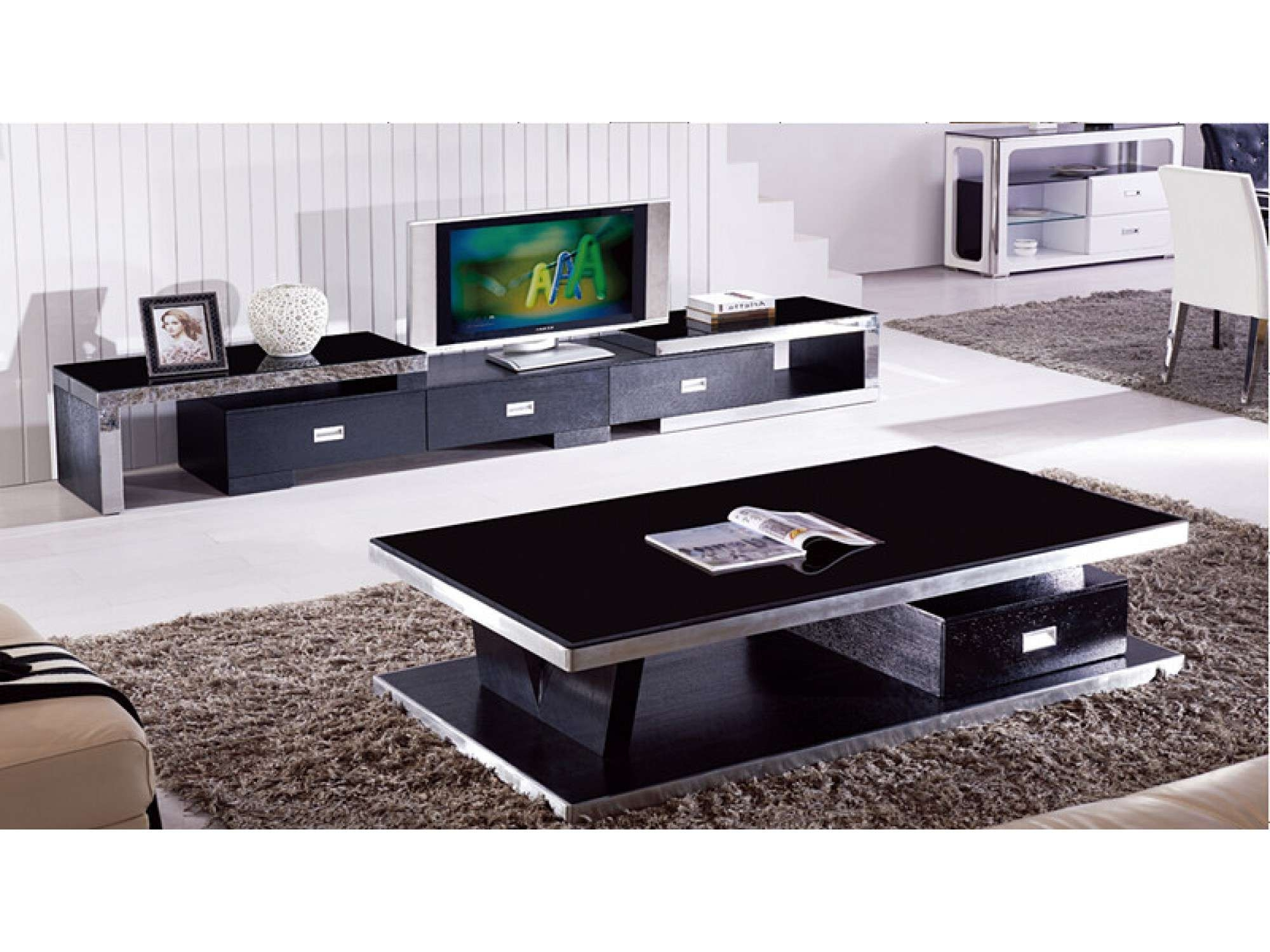 Modern Black Tempered Glass Coffee Table With 1 Drawer – Sunny With Famous Modern Black Glass Coffee Table (View 14 of 20)