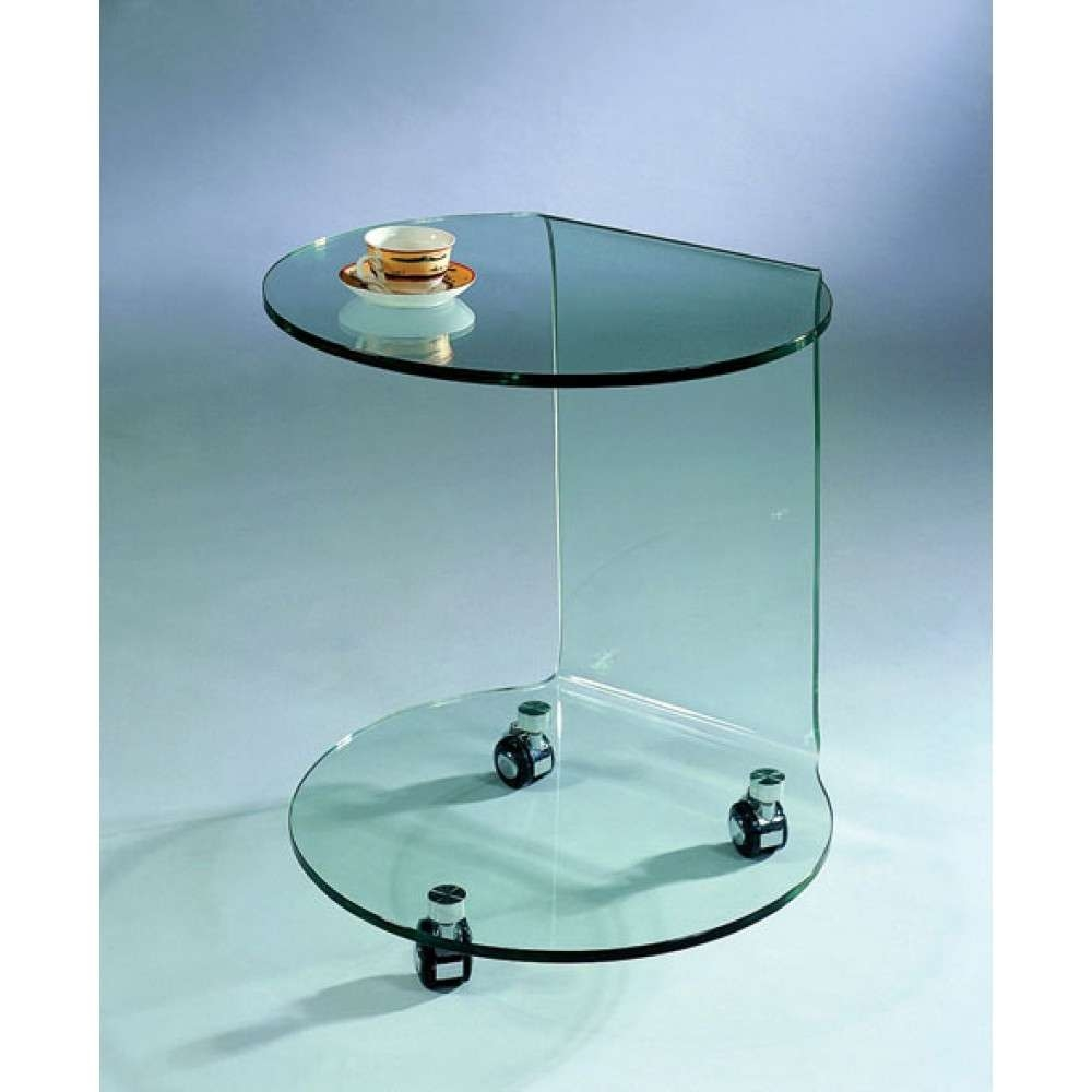 Modern C 032 Glass End Table With Wheels, J&m Furniture – Modern Inside Popular Glass Coffee Tables With Casters (View 14 of 20)