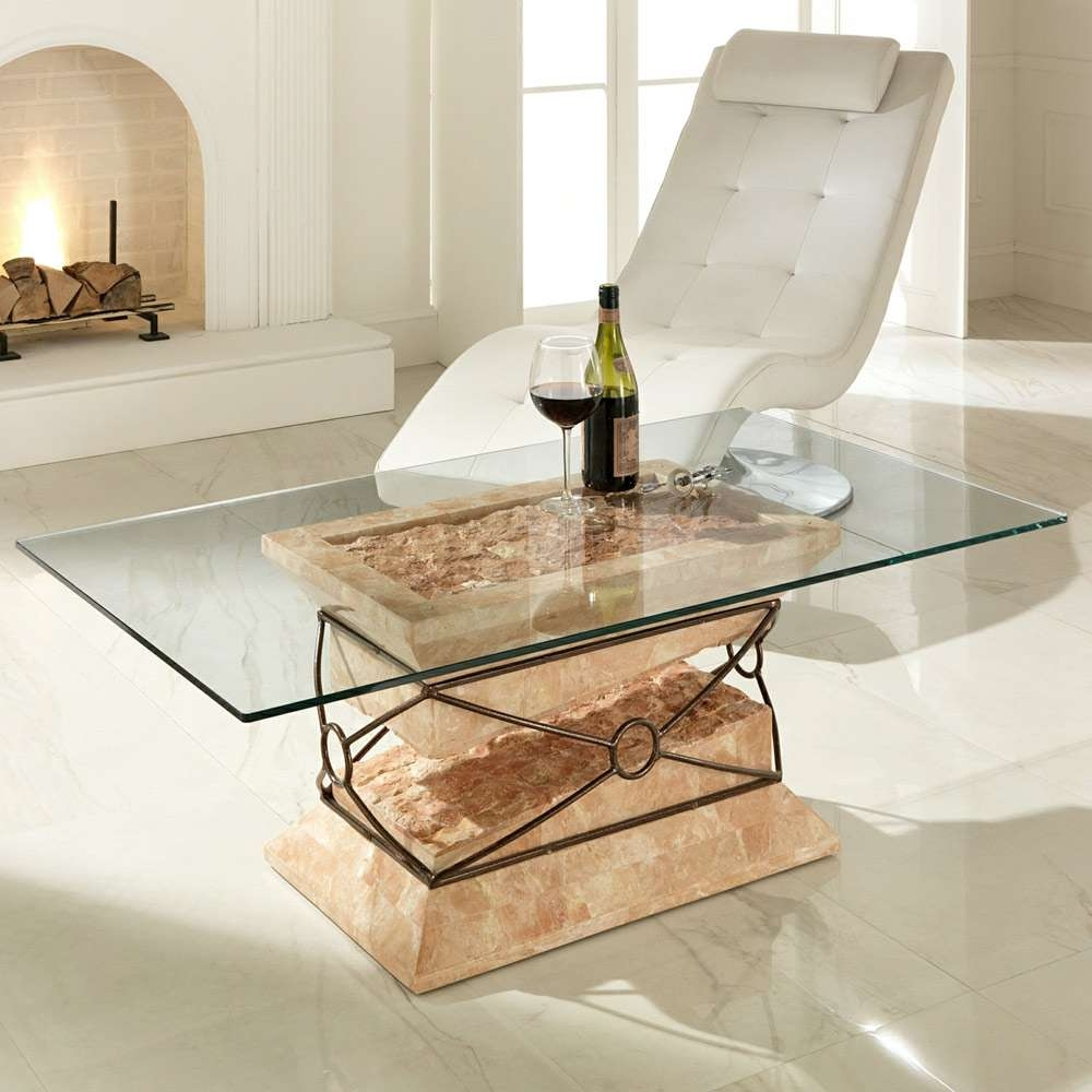 Modern Fossil Stone, Glass And Metal Coffee Table Futuro Within 2017 Stone And Glass Coffee Tables (View 13 of 20)