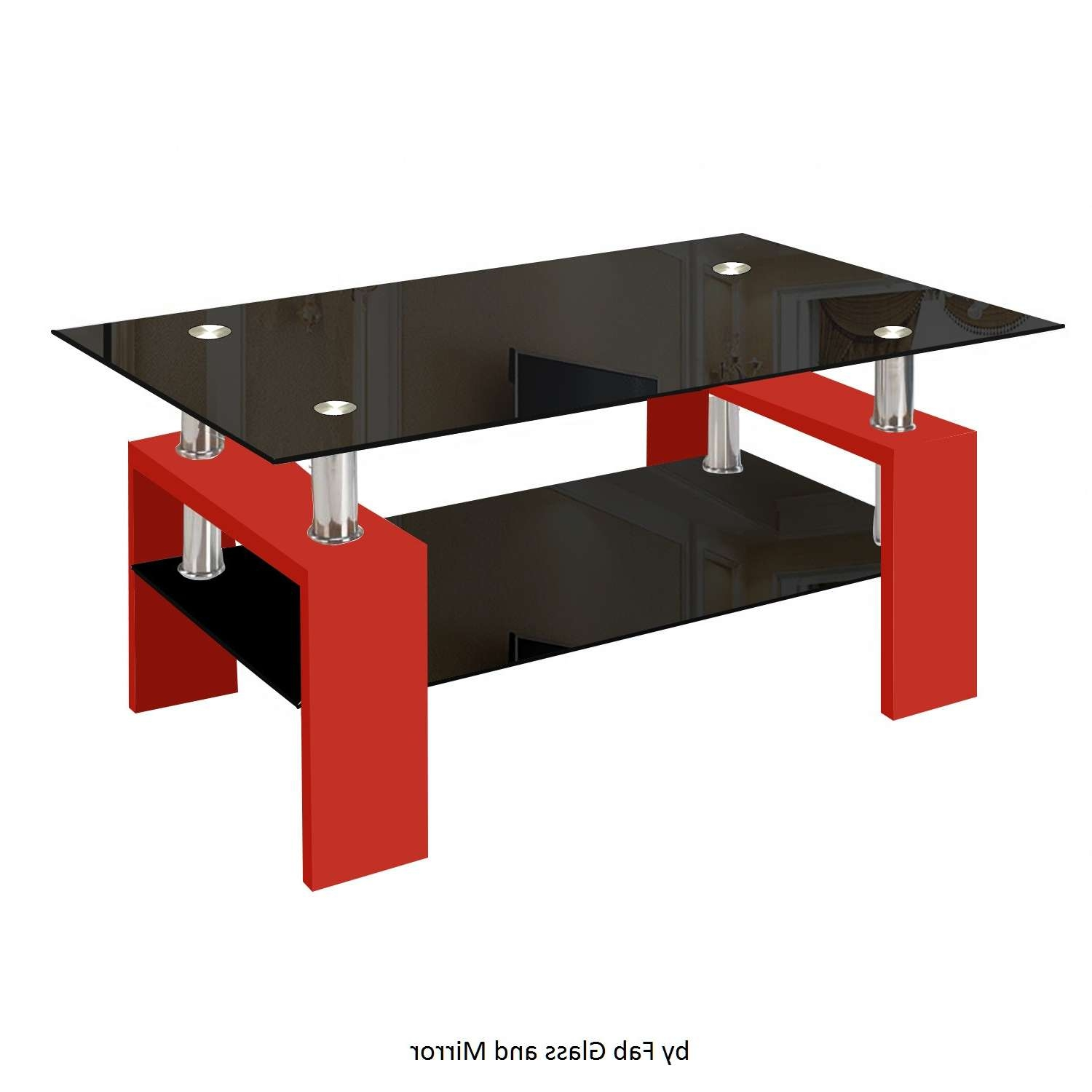 Modern Glass Red Coffee Table With Shelf Contemporary Living Regarding Preferred Red Coffee Tables (View 11 of 20)