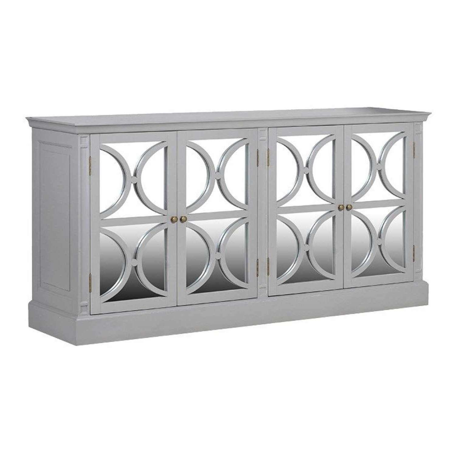 Modern Grey Fayence 4 Door Decorative Mirrored Sideboard With White Mirrored Sideboards (View 11 of 20)