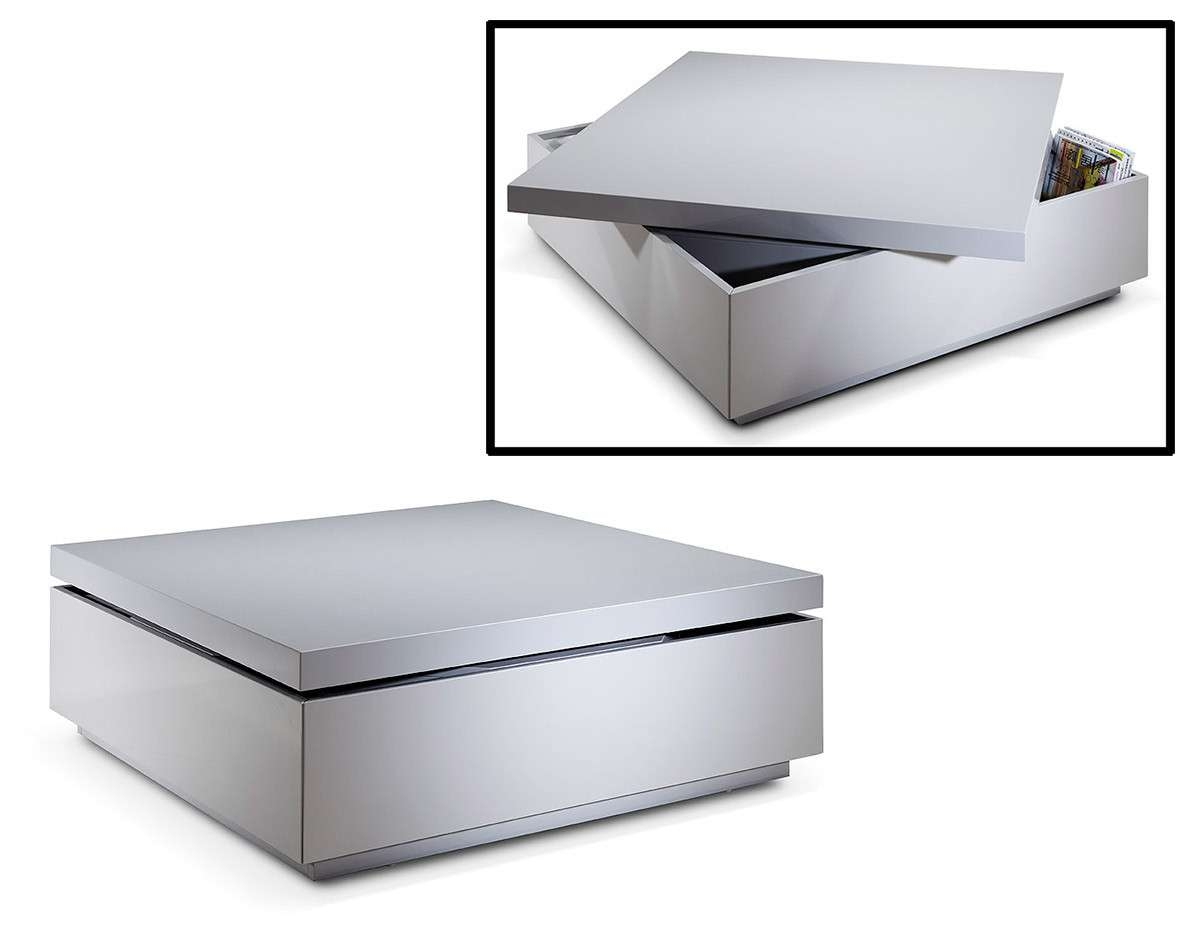 Modern Grey Lacquer Swivel Coffee Table W/ Storage With Best And Newest Swivel Coffee Tables (View 10 of 20)