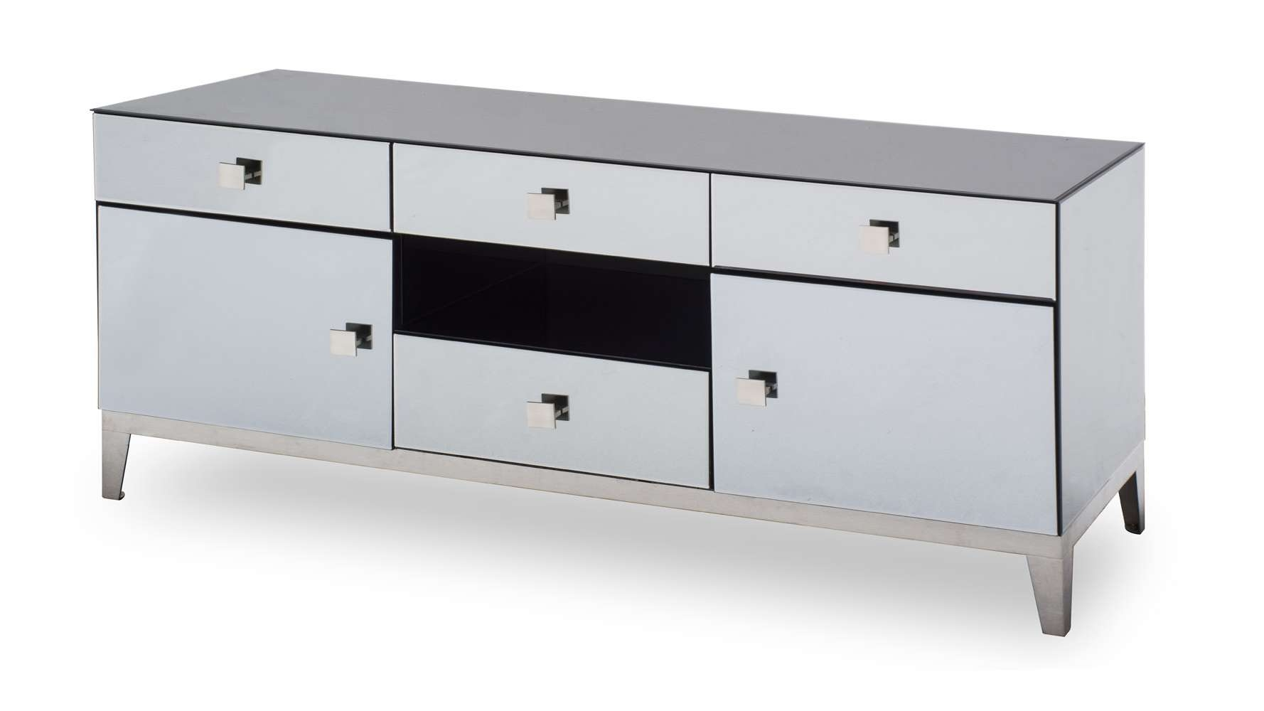 Modern Grey Mirrored Glass Berlin Tv Stand | Zuri Furniture With Regard To Mirrored Tv Cabinets Furniture (View 20 of 20)